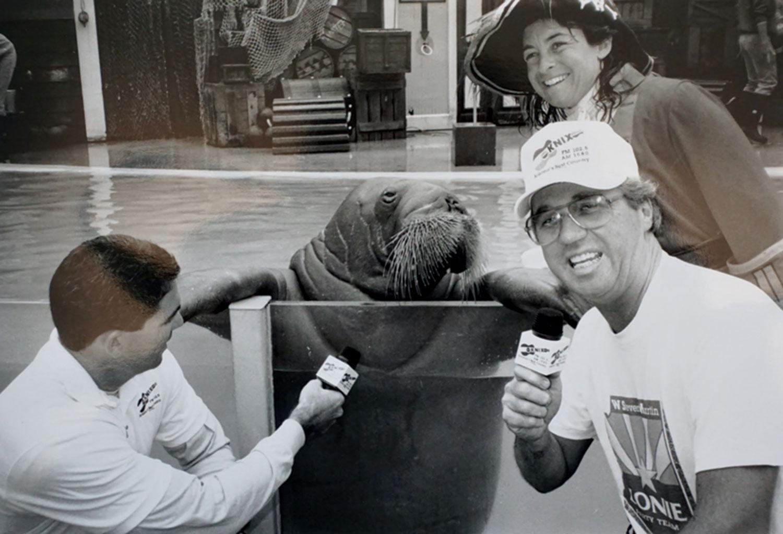 KNIX DJ W. Steven Martin interviews a walrus at SeaWorld, 1980s