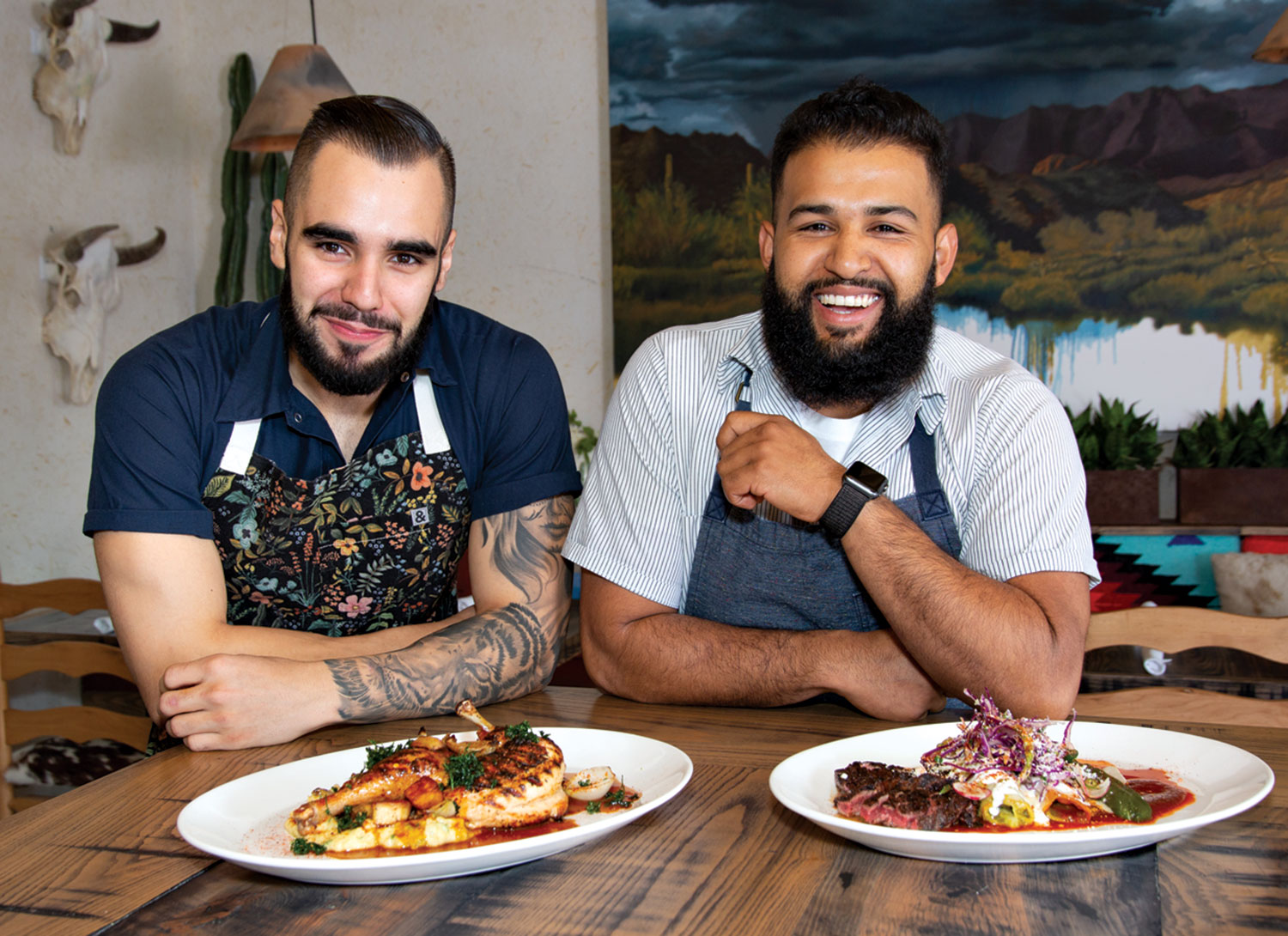 chefs Roberto Centeno and Rene Andrade, right