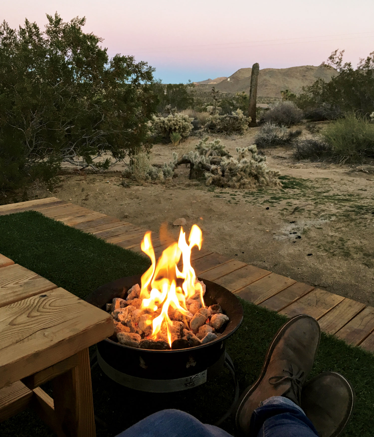 photo by Leah Lemoine; Watching the sunset on the Airbnb deck in Joshua Tree