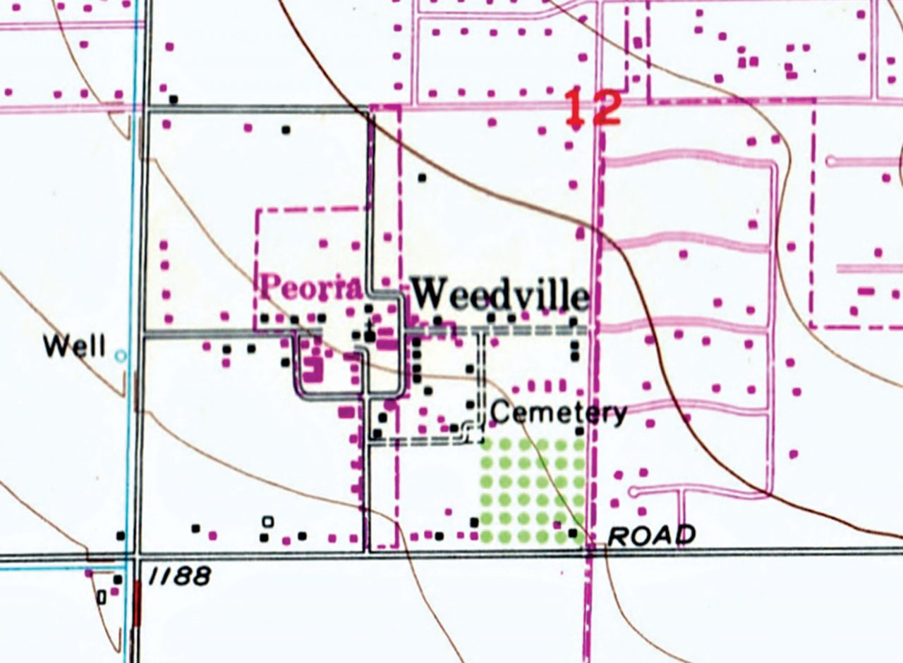 Weedville as depicted on the United States Geological Survey topographic 7.5-minute map for Glendale; Photo courtesy History Adventuring