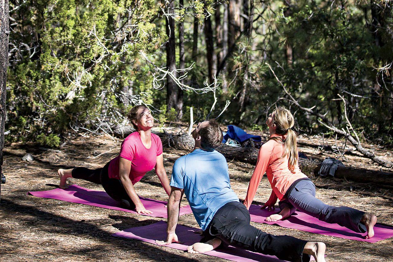 YogiHiker Stacy Kinsley leads a mountaintop yoga class.; Photo courtesy YogiHiker