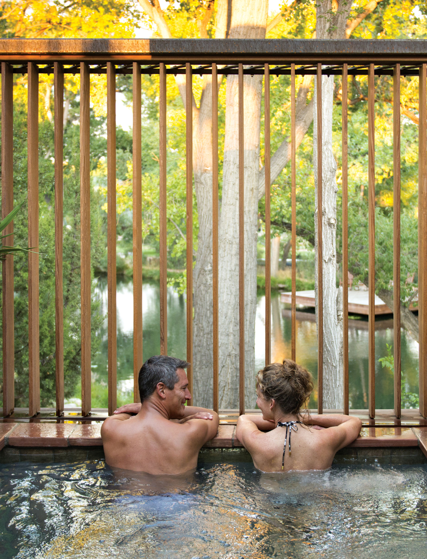 Ojitos soaking tub at Sunrise Springs Spa Resort; Photo courtesy Sunrise Springs Spa Resort