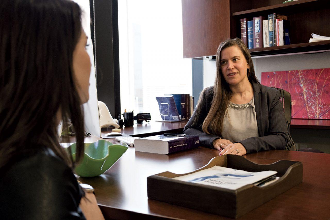 Medical malpractice lawyer Cory Tyszka in her Downtown Phoenix office; Photo by Mirelle Inglefield