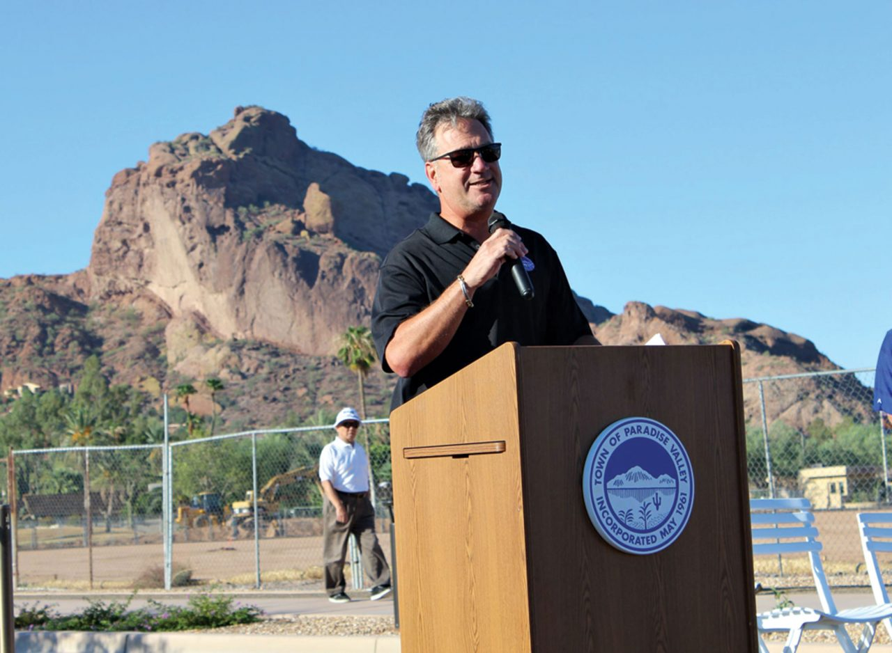 Photo courtesy of Town of Paradise Valley; then-vice mayor Paul Dembow at a 56th Street dedication ceremony in September 2015