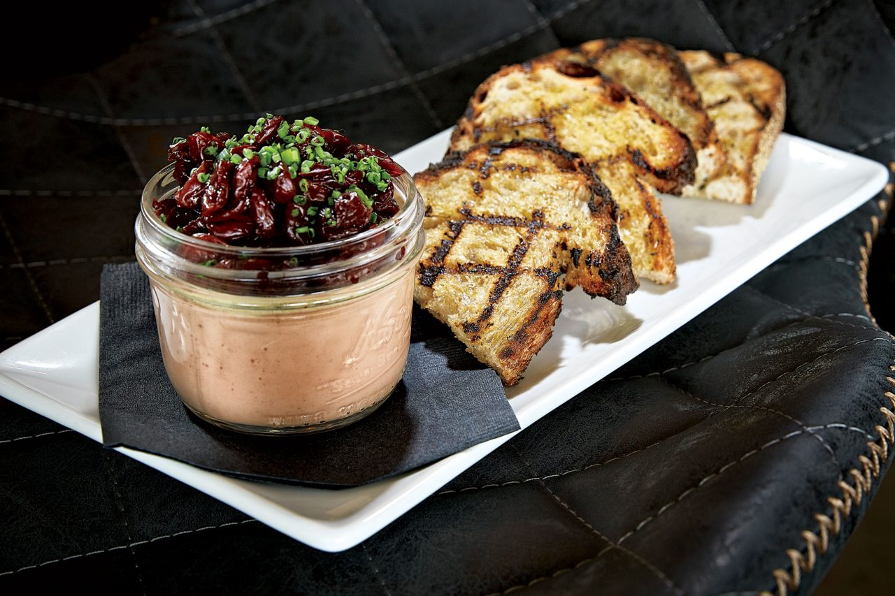 Chicken liver mousse with liquor-infused cherries