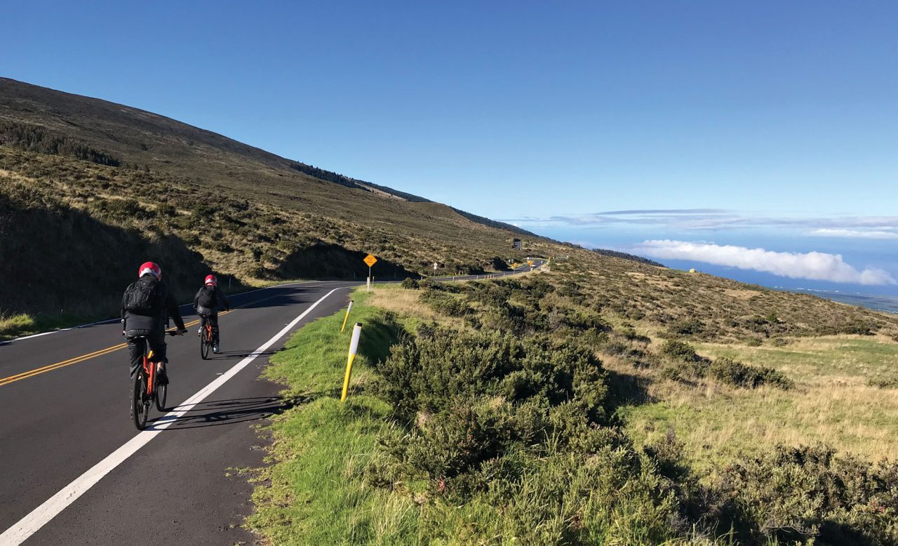 Biking down Haleakala; Photo by Craig Outhier