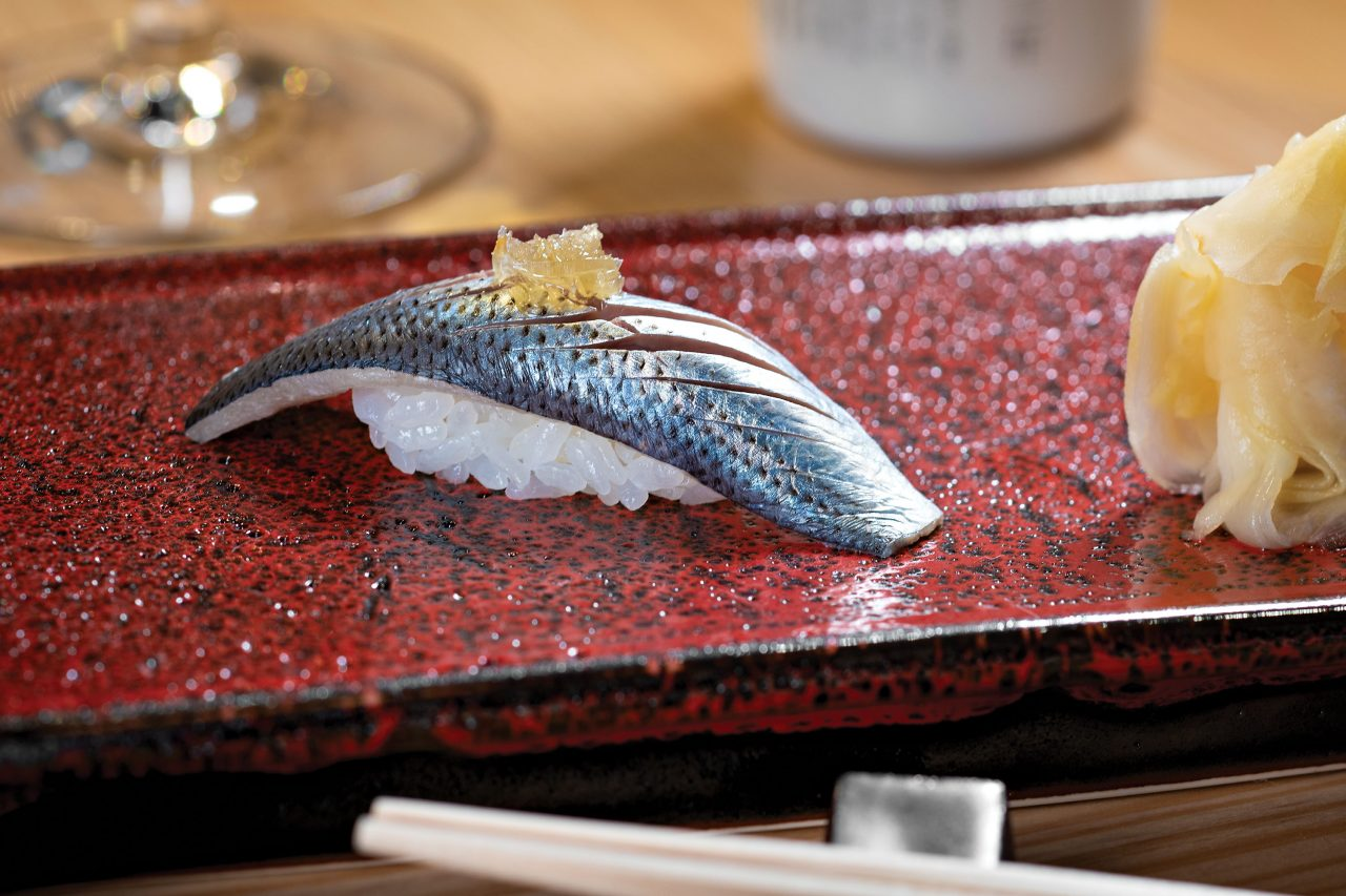 Kohada nigiri with battera kelp; Photo by Rob Ballard