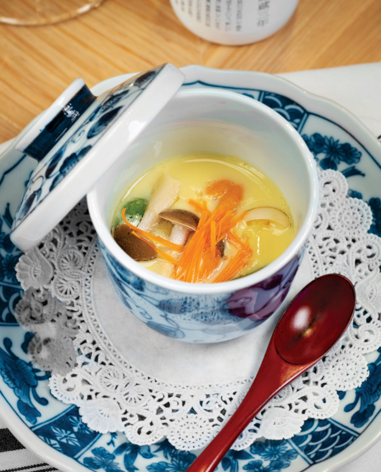 Chawanmushi with white fish, scallop and uni; Photo by Rob Ballard