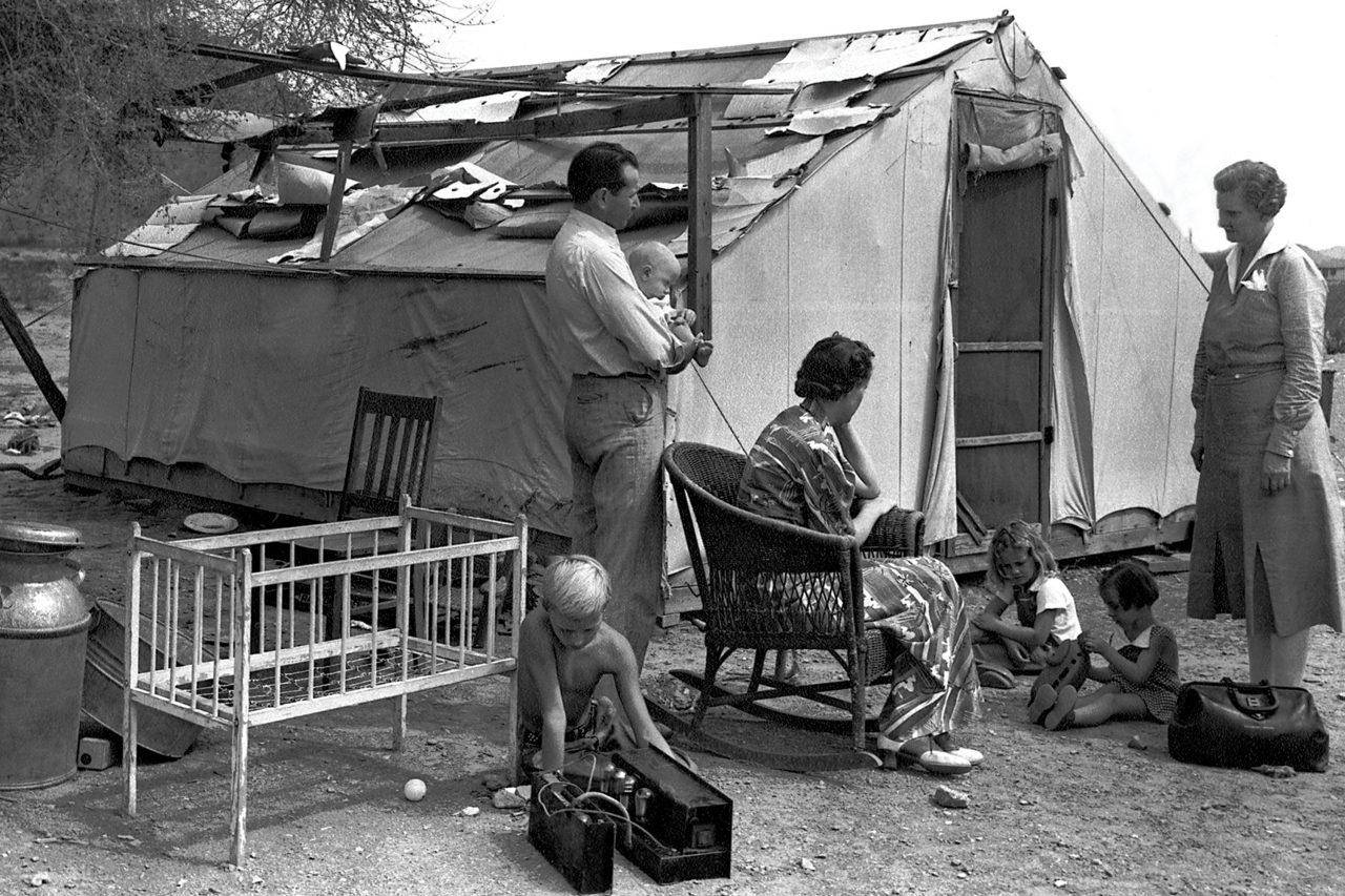 Desert Mission nurse Ellen Ekelund, R.N., visits a TB patient, 1940.; Photo courtesy Sunnyslope Historical Society