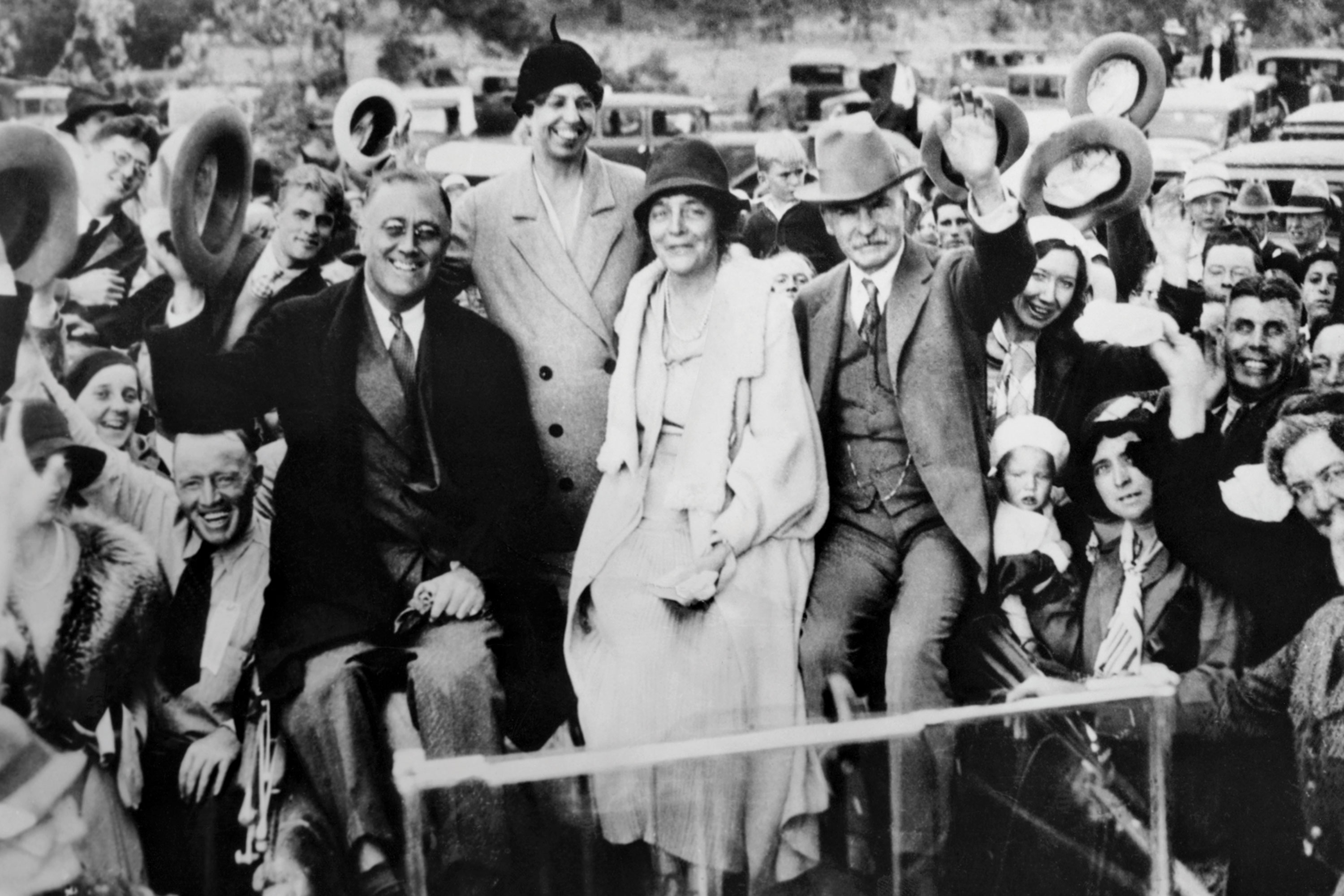 Isabella Greenway (seated) campaigning with Franklin D. and Eleanor Roosevelt and Montana Senator Thomas J. Walsh (right) in Williams in 1932; Photo courtesy Arizona Inn