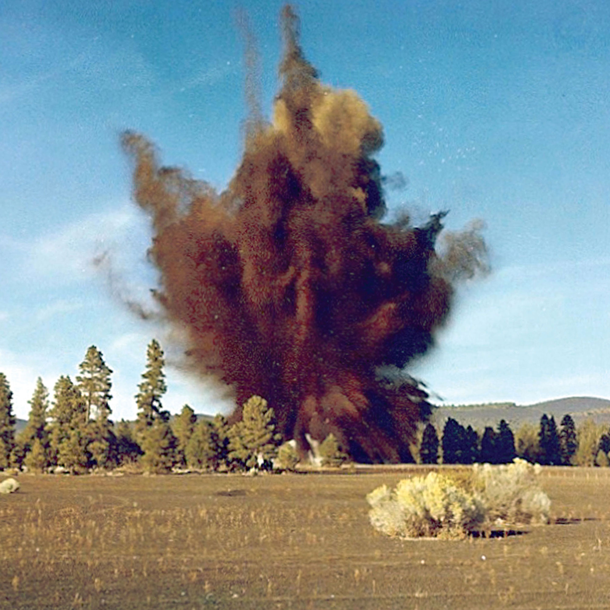 one of the many explosions created at Cinder Lake, east of Flagstaff, to replicate the craters on the moon