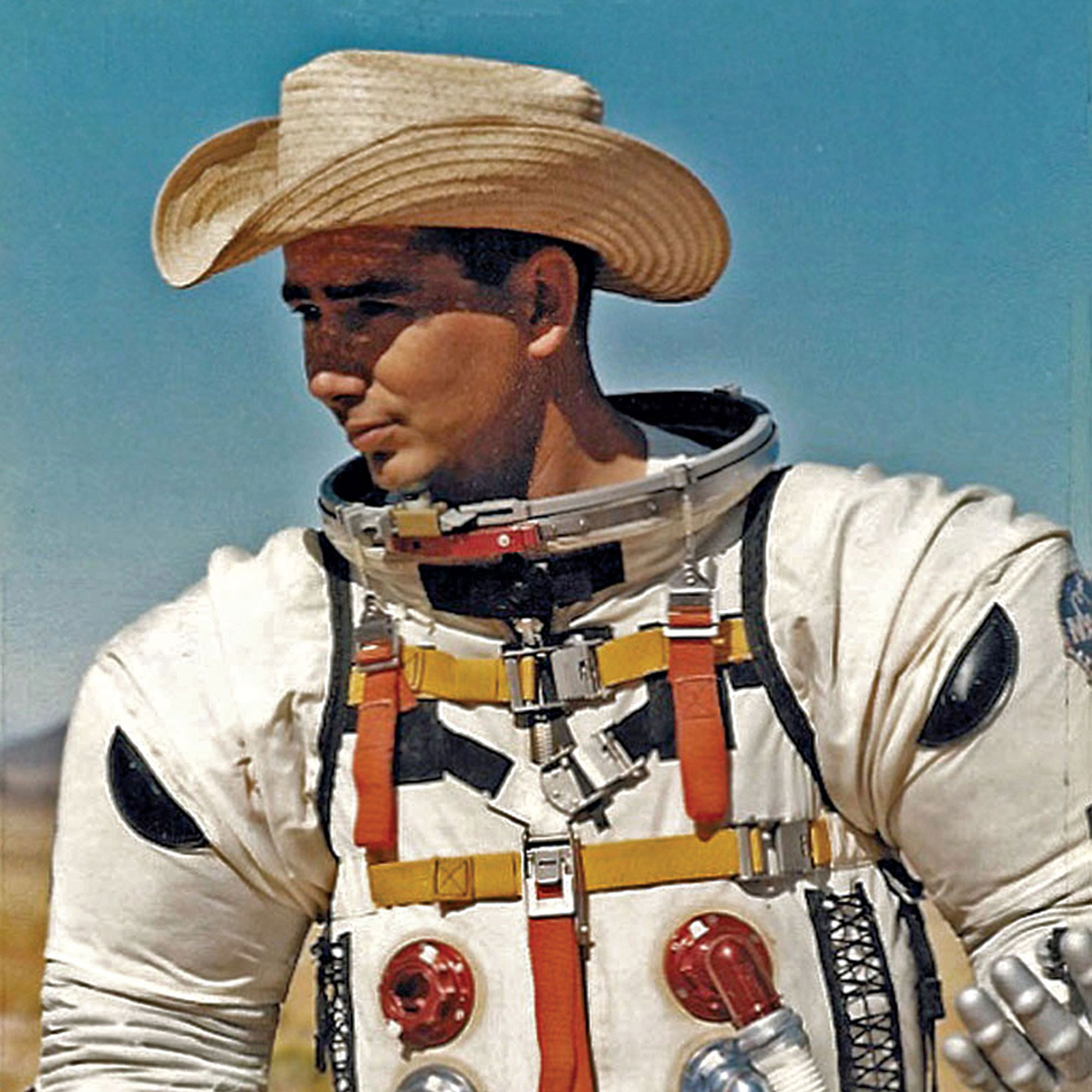 Astronaut Joe O'Connor tests a spacesuit at Hopi Buttes Volcanic Field, 1965