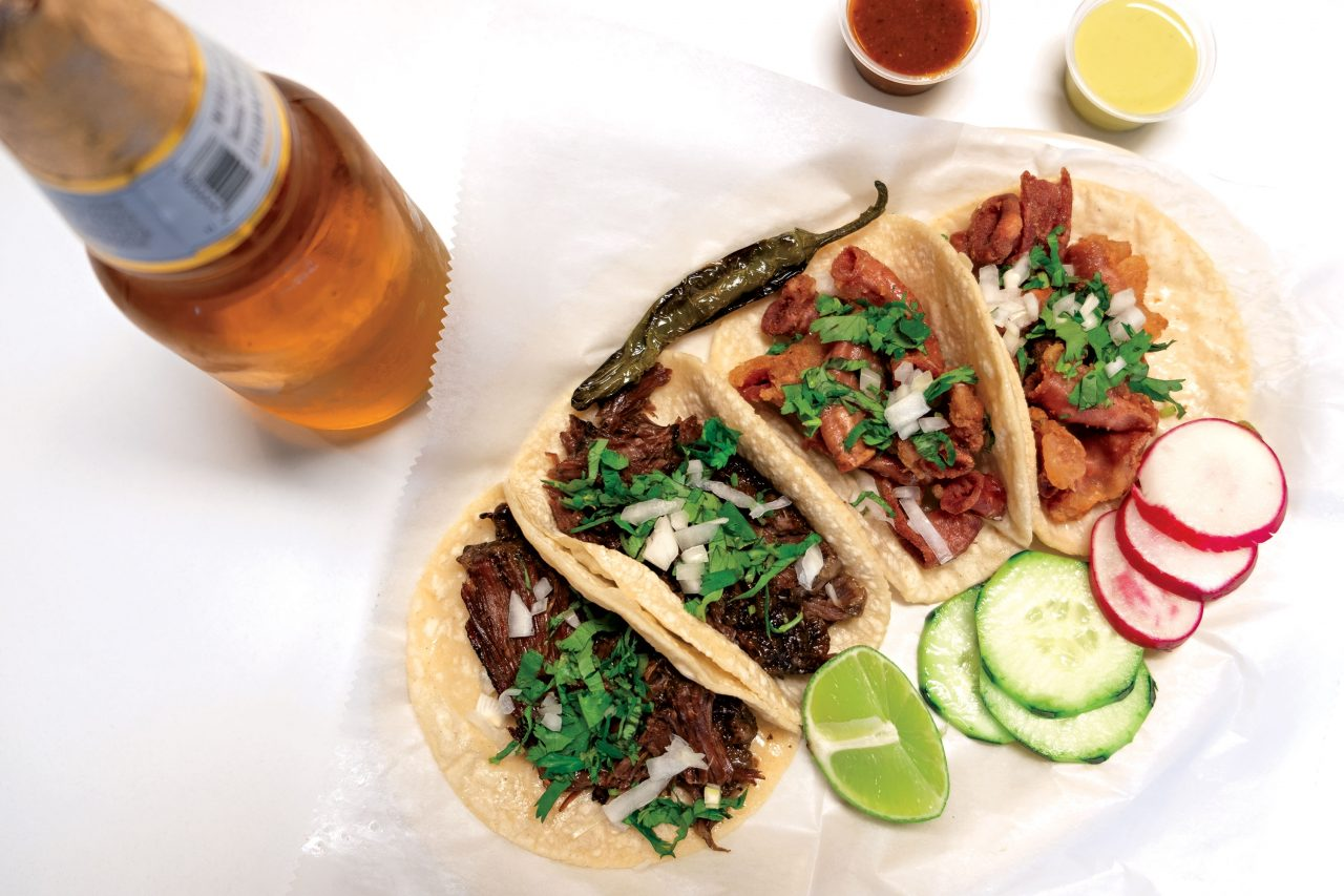 Barbacoa and tripas tacos at Tacos Chiwas; Photo by Eric Cox