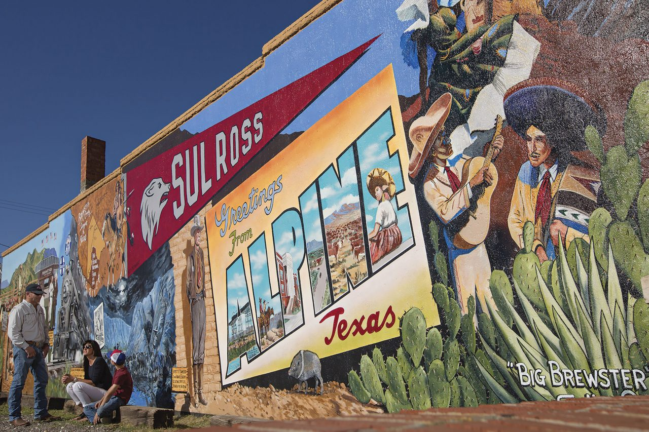"""""""Big Brewster"""" is one of a series of murals scattered throughout downtown Alpine; Photo courtesy J. Griffis Smith / visitalpinetx.com"""