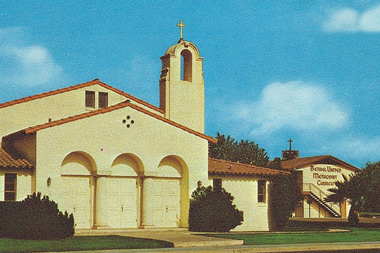 Bethel United Methodist Church postcard, 1968; Photo courtesy Taco Guild