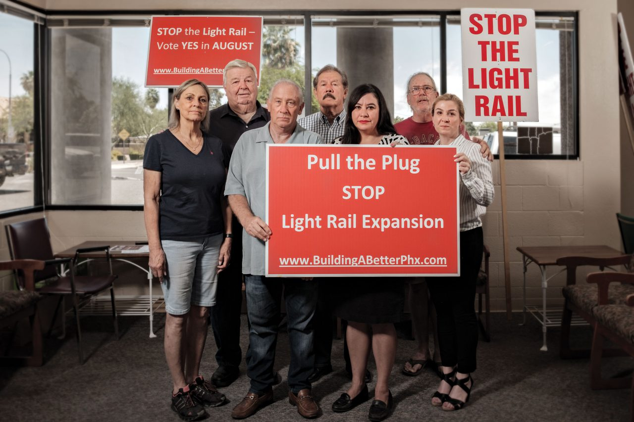 An anti-light-rail meeting of business owners in South Phoenix in June 2019