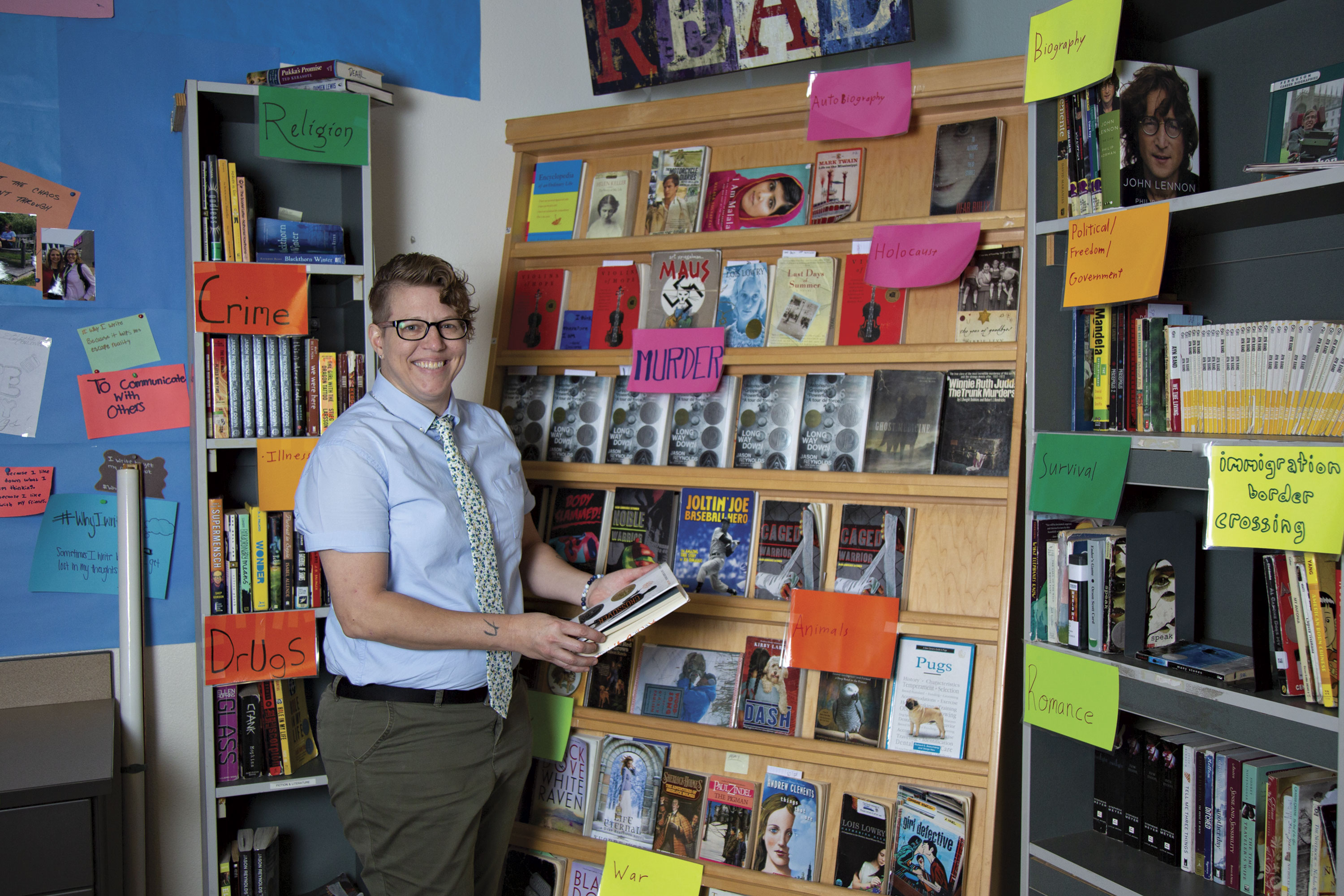Maryvale High School creative writing teacher Carrie Deahl and her self-funded library; Photo by Angelina Aragon