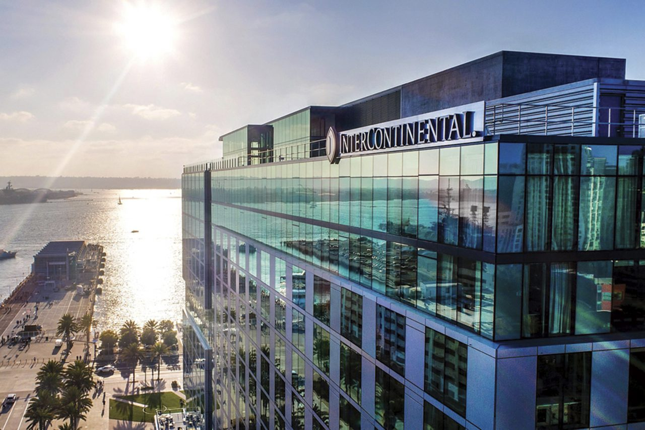 the InterContinental San Diego and its bay views; Photo courtesy the InterContinental San Diego