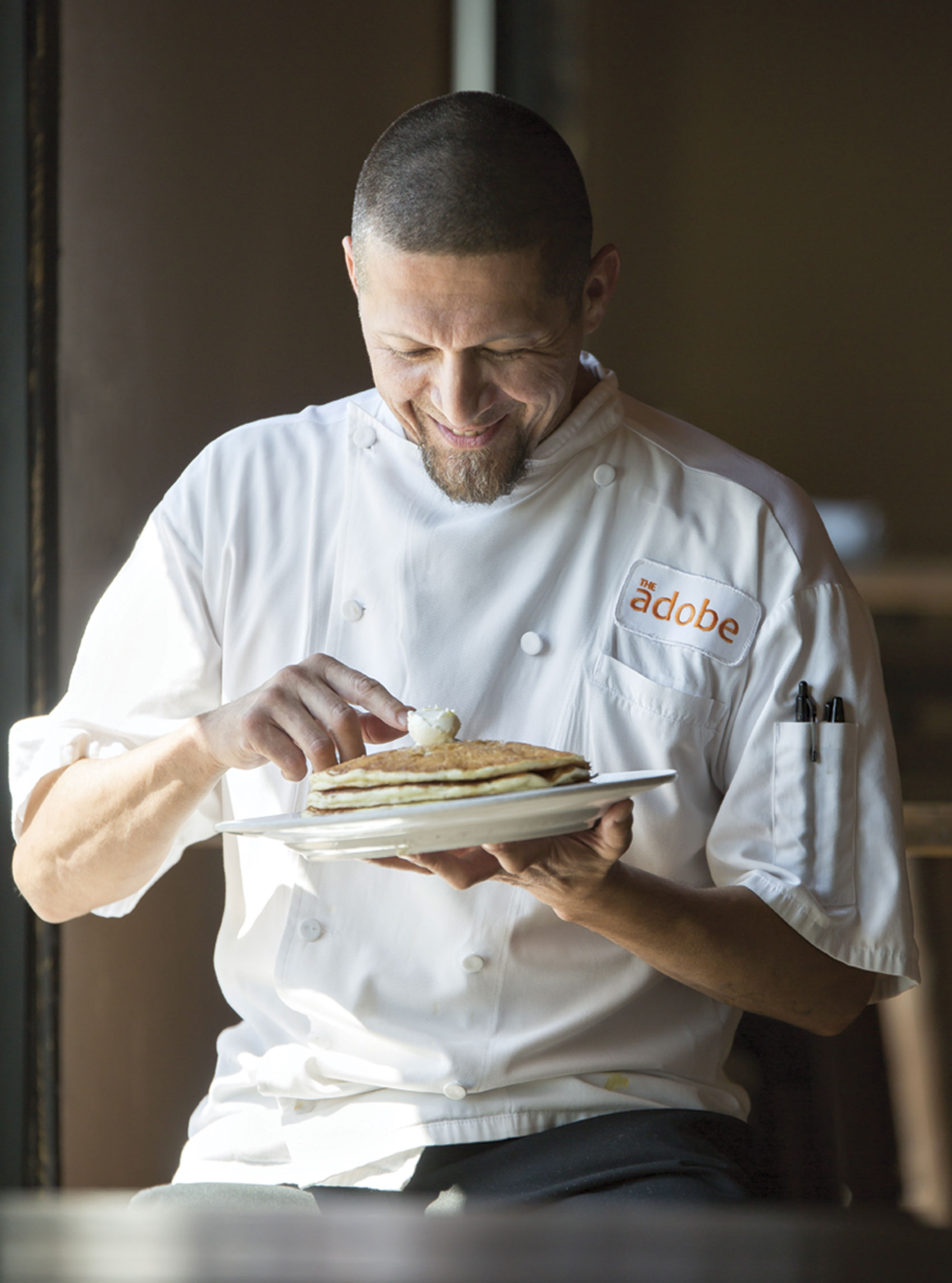 Chef Michael Ybarra with Chip S'Hot Cakes; Photo by Chris Loomis