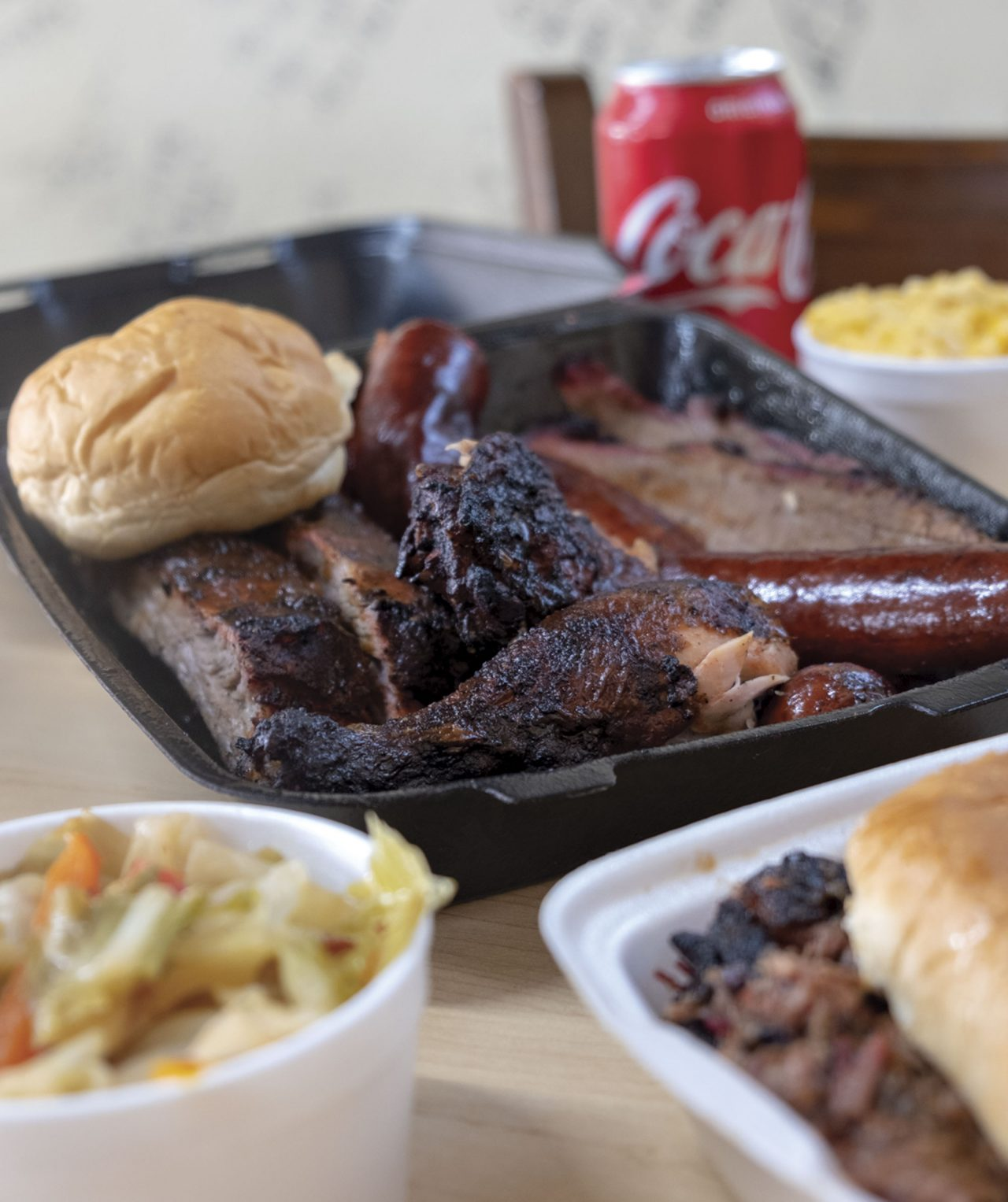 The five-meat Heavy Hitter plate at JL Smokehouse; Photos by Mirelle Inglefield