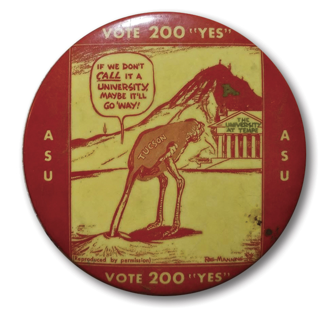 Proposition 200 button; Photo courtesy Arizona State University Archives