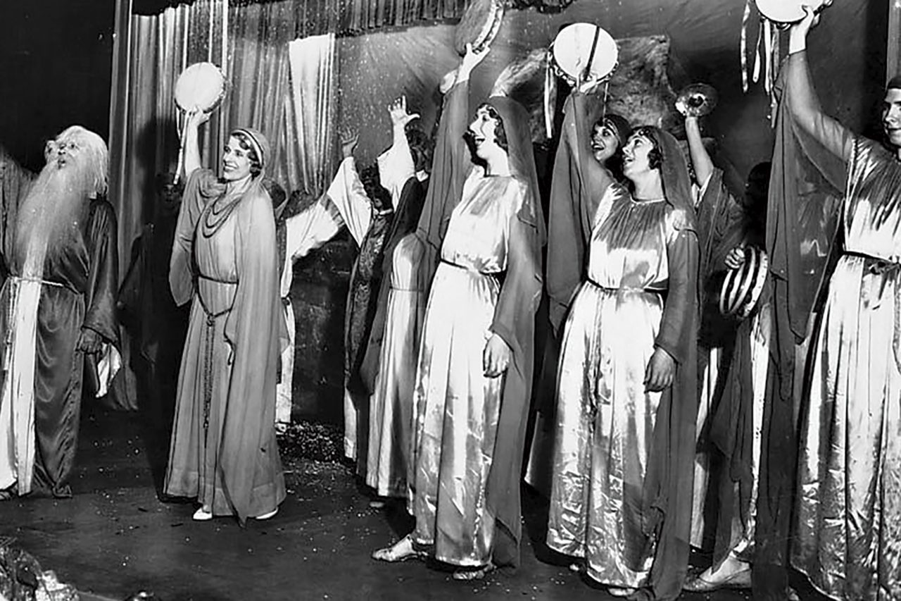 Aimee Semple McPherson (second from left) at Angelus Temple, 1929; Photo courtesy Los Angeles Public Library