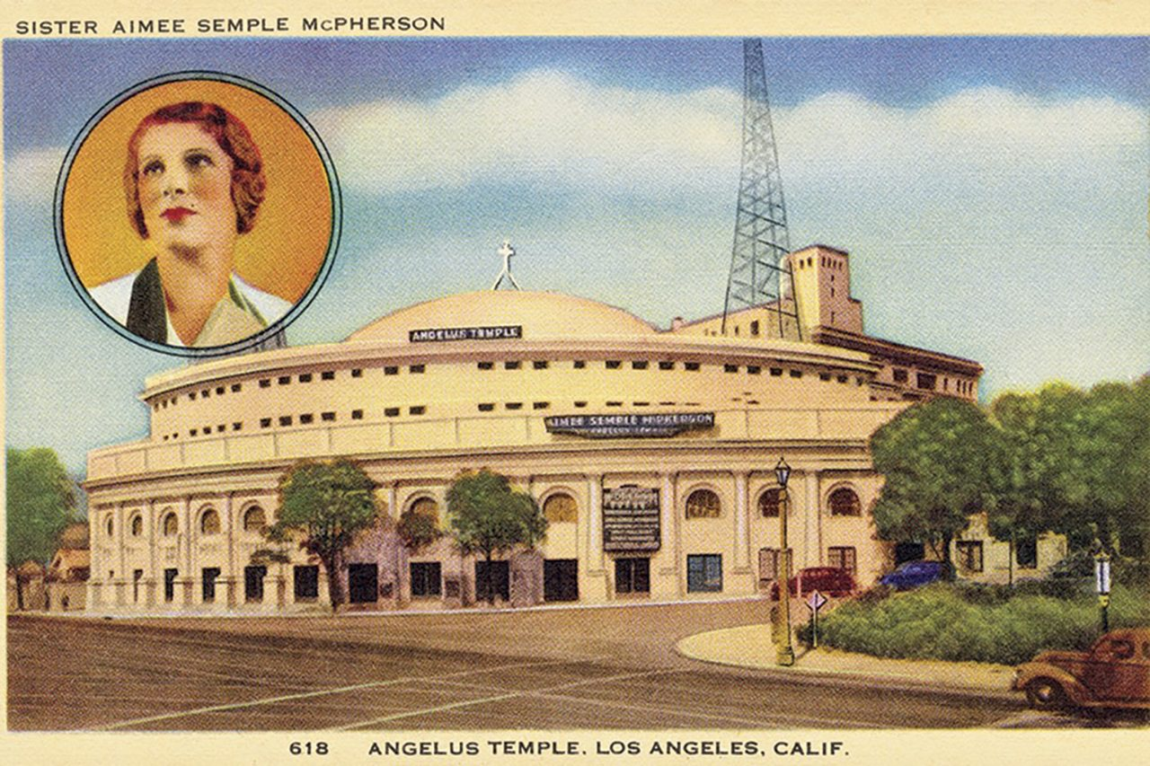 postcard illustration of the temple in Los Angeles' Echo Park neighborhood, 1923; Photo courtesy Douglas C. Towne