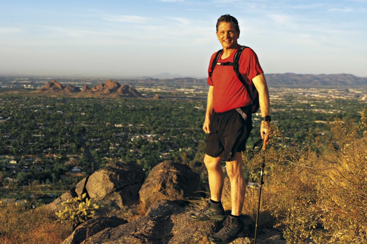 Ed DohRing on one of his favorite local hikes, Cholla Trail on Camelback Mountain; Photo by Mirelle Inglefield