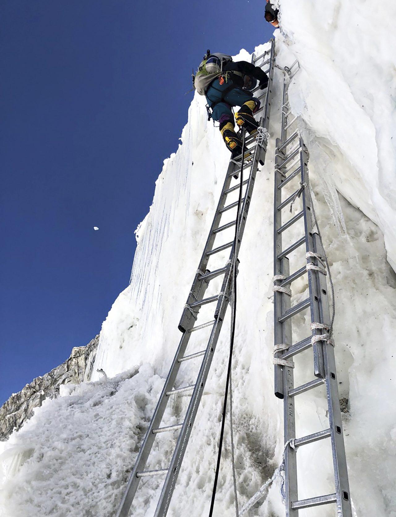 Climbing up the Khumbu Icefall; Photo courtesy Ed Dohring