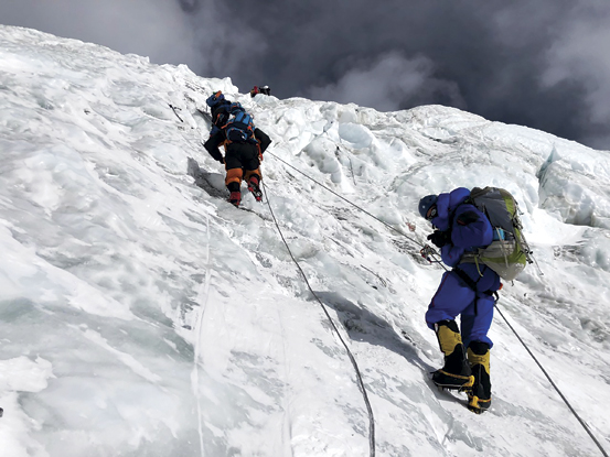 roping up the Geneva Spur just above the Lhotse Face; Photo courtesy Ed Dohring
