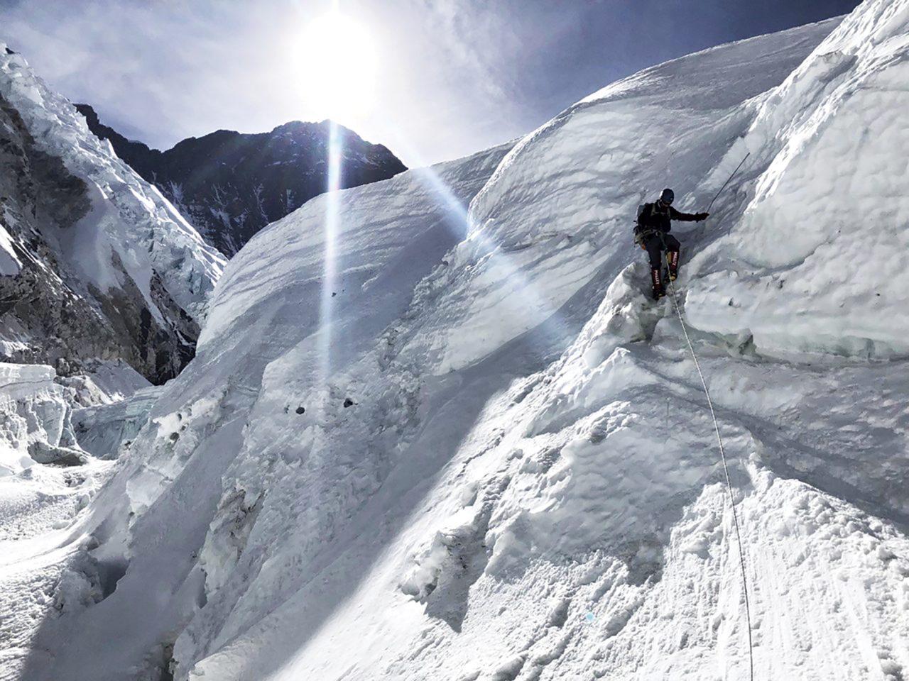scaling the steep Lhotse Face; Photo courtesy Ed Dohring