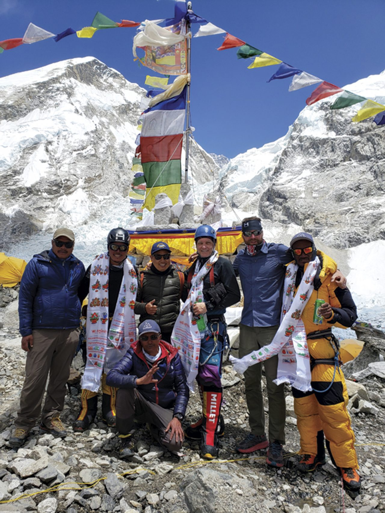 Dohring's team celebrating in front of the ceremonial puja altar after summiting; Photo courtesy Ed Dohring
