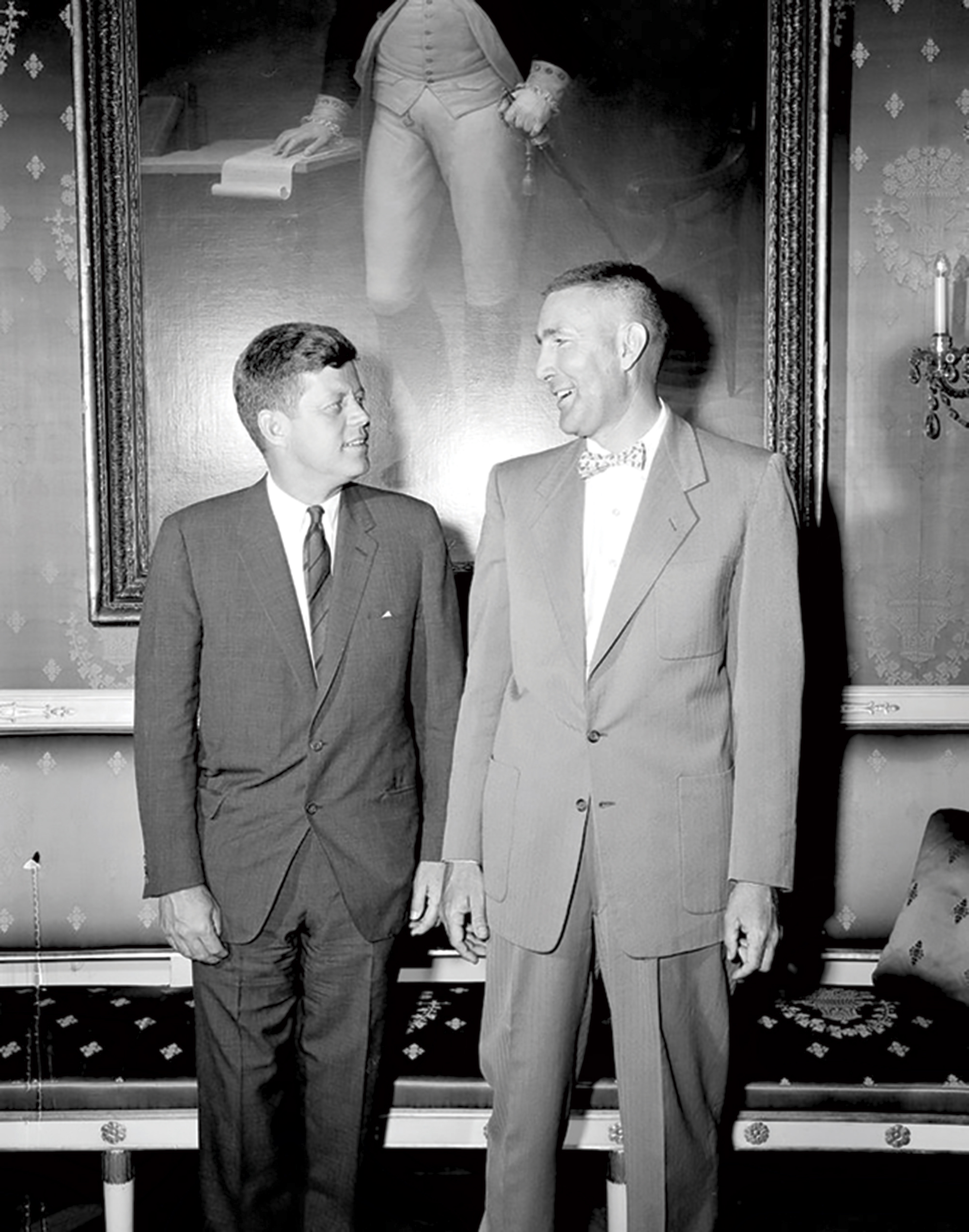U.S. Representative Mo Udall with President John F. Kennedy in the Blue Room at the White House on May 18, 1961; Photo by Robert Knudsen courtesy JFK Presidential Library and Museum