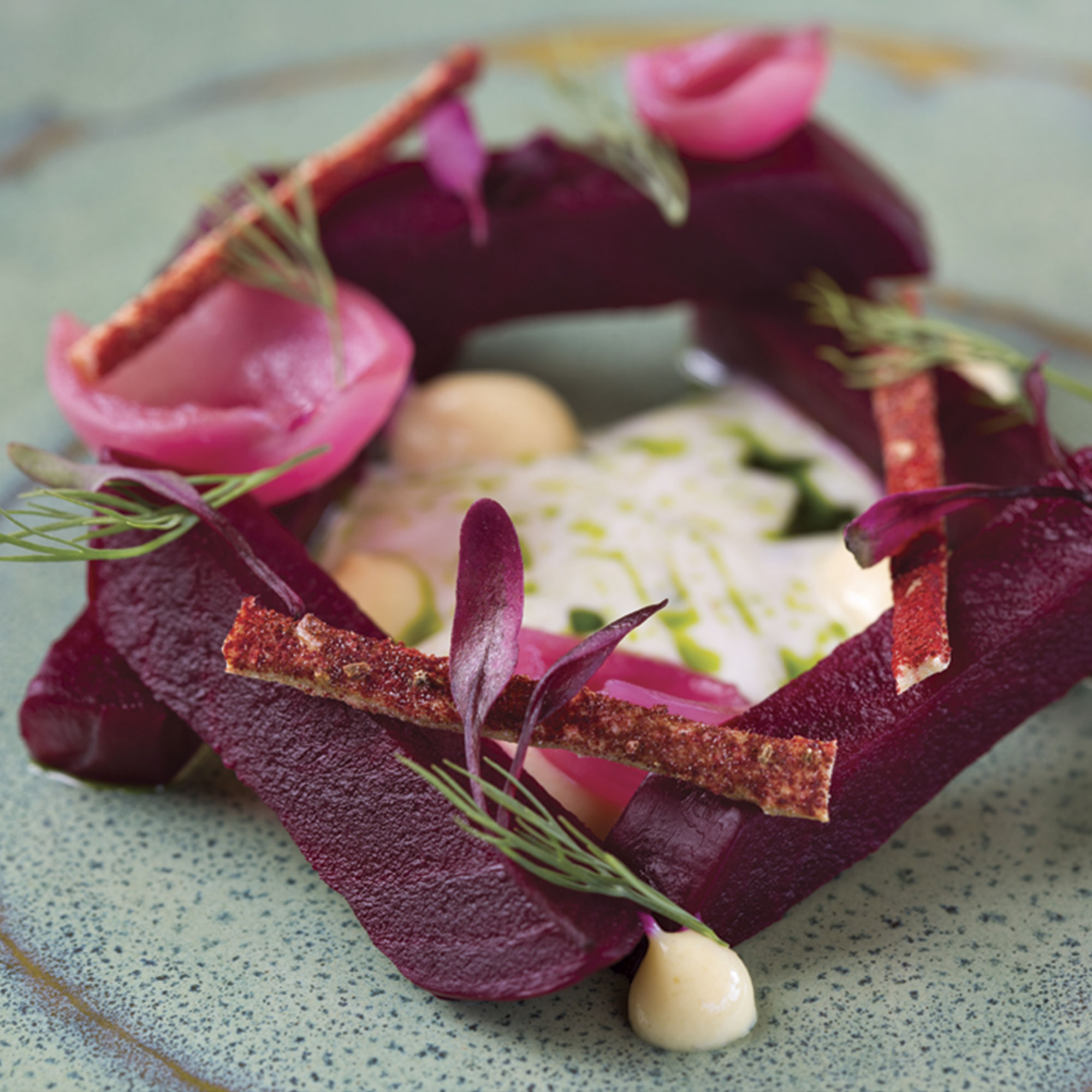 "beet ""pastrami"" with custard and dill"