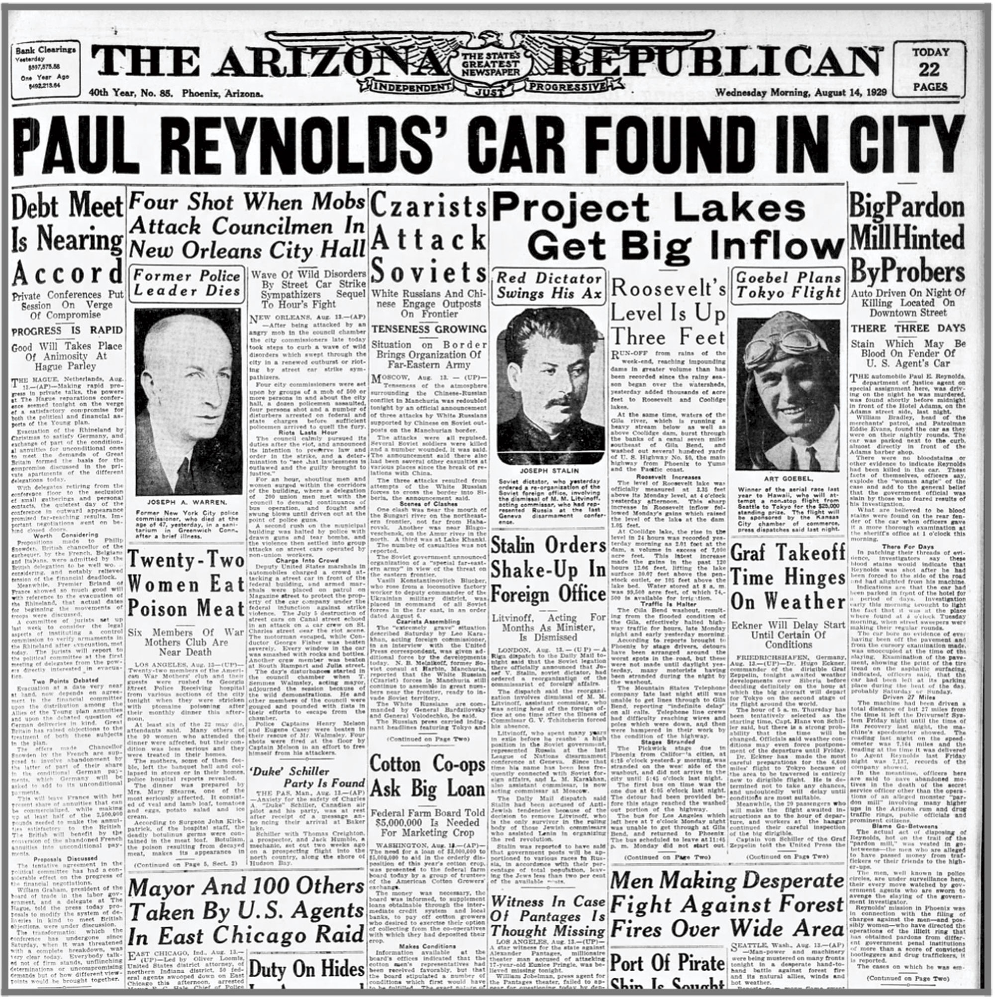 coverage of Reynolds' death in The Arizona Republican, August 14, 1929; Photo courtesy SRP