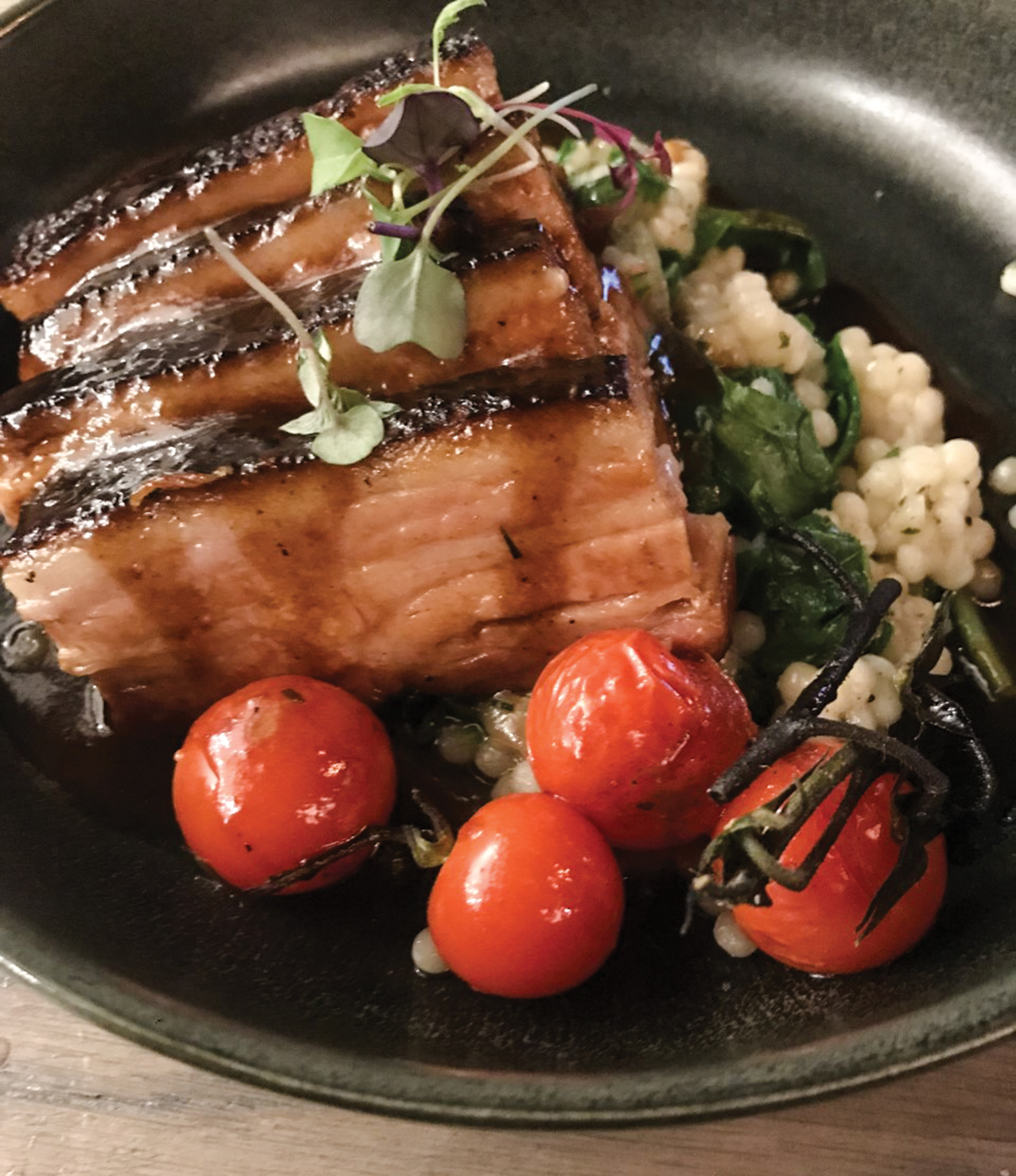 the pork belly at Fable & Spirit; Photo by Craig Outhier
