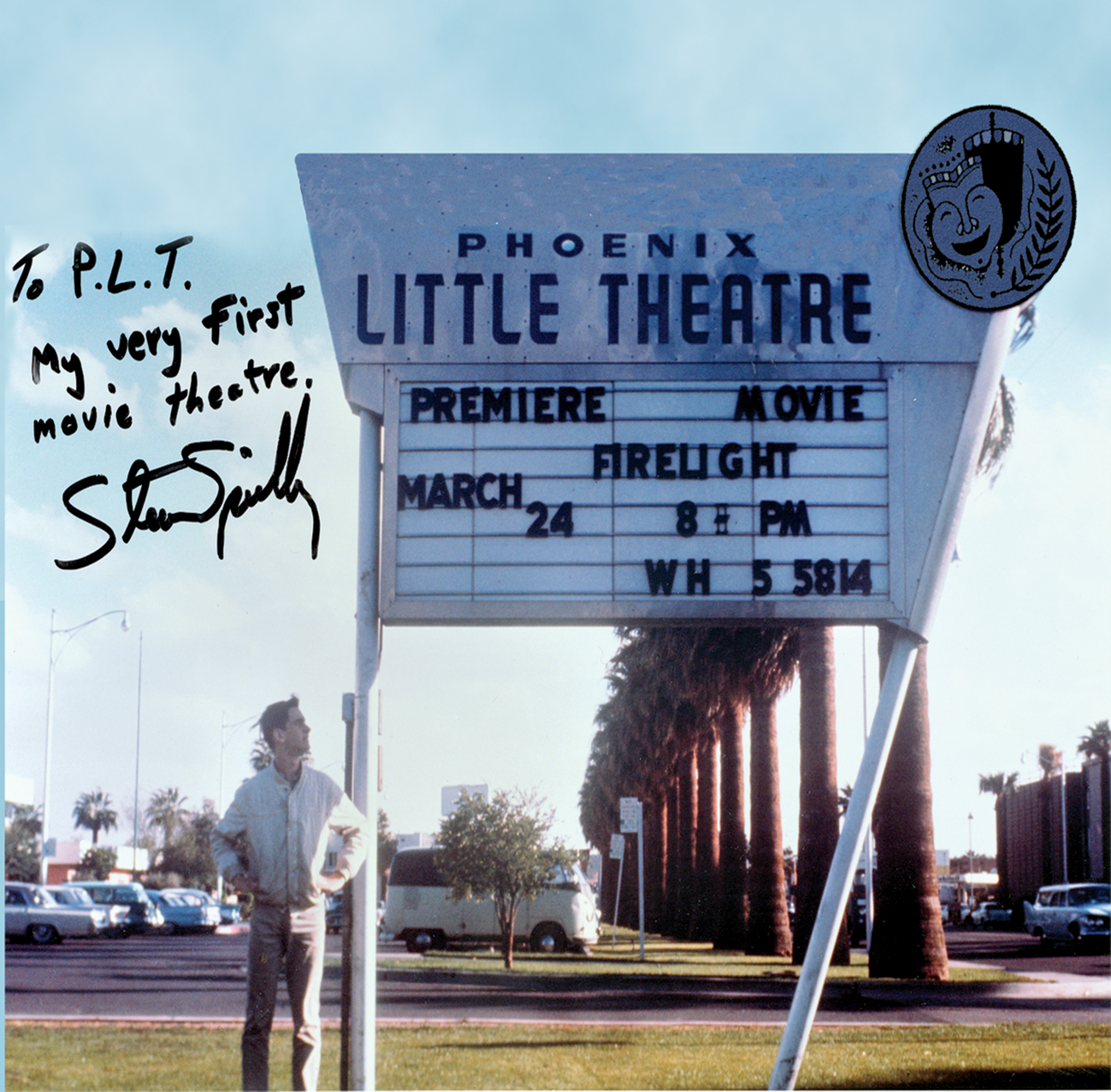 Steven Spielberg, age 16, under the marquee of his first professional film shown at Phoenix Little Theatre, 1964; Photo courtesy the Phoenix Theatre Company