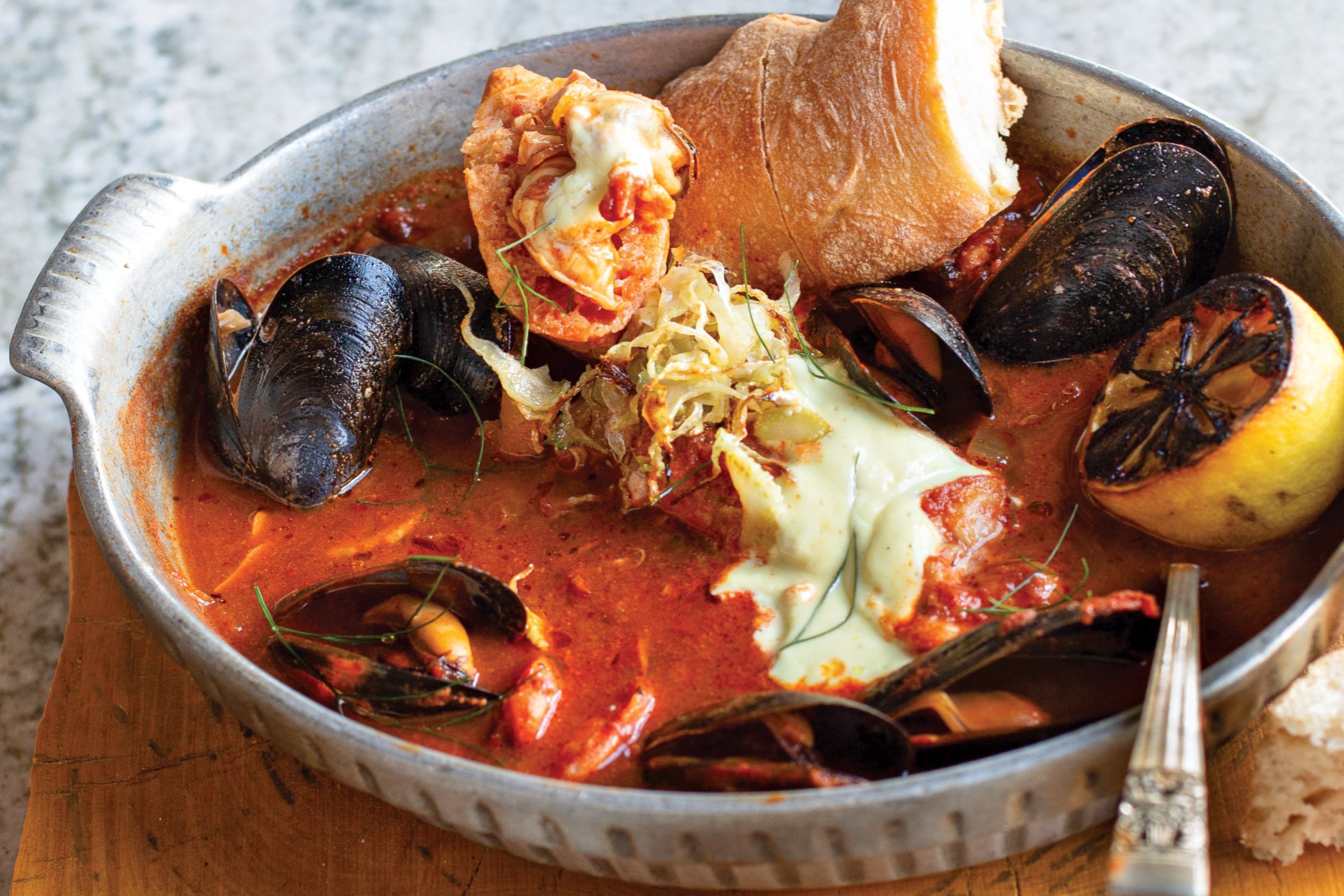 Wood-fired cioppino at Persepshen; Photography by Debby Wolvos