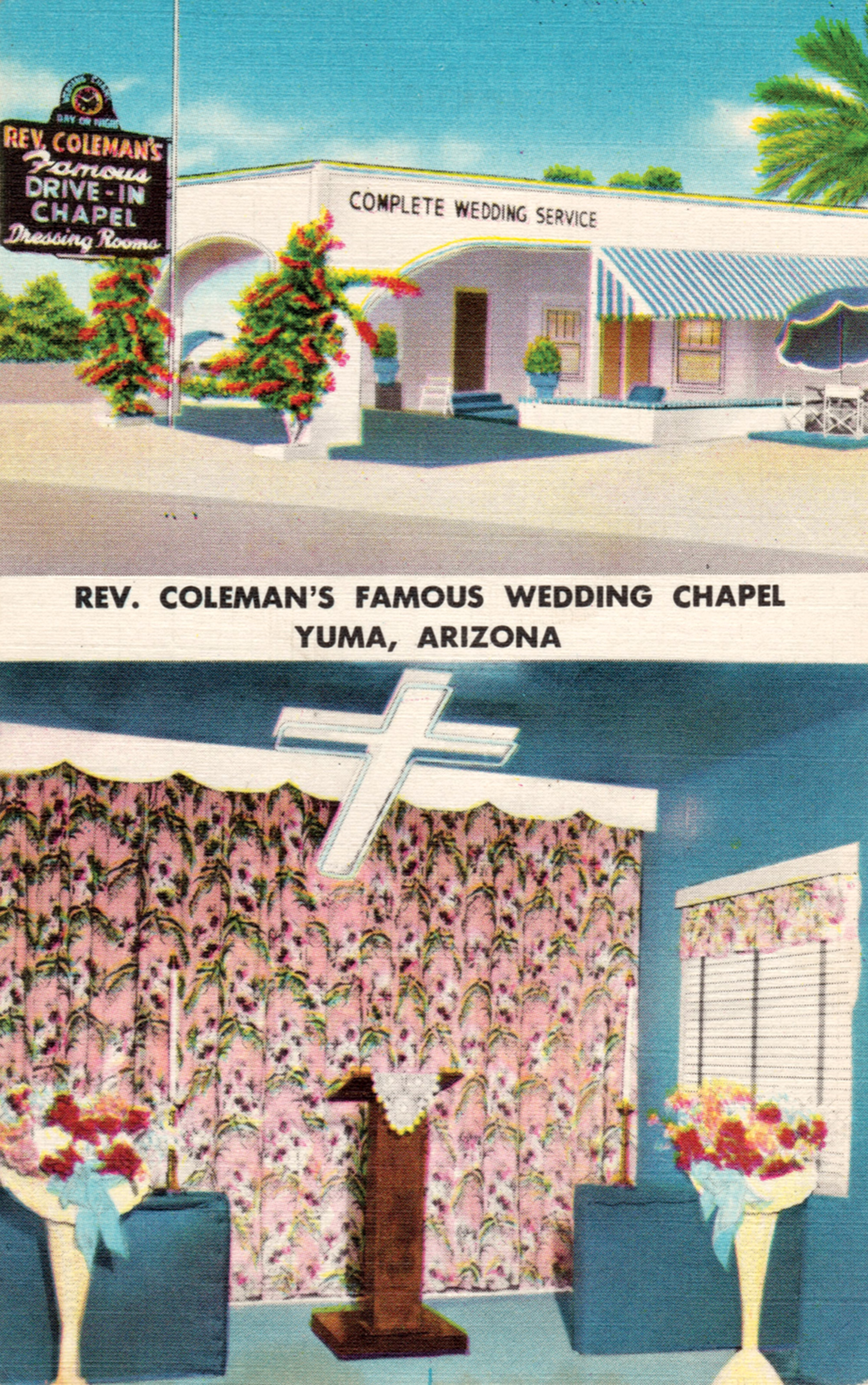 Reverend Coleman's Drive-in Chapel, 1930s; Photo courtesy postcard collection of Douglas C. Towne
