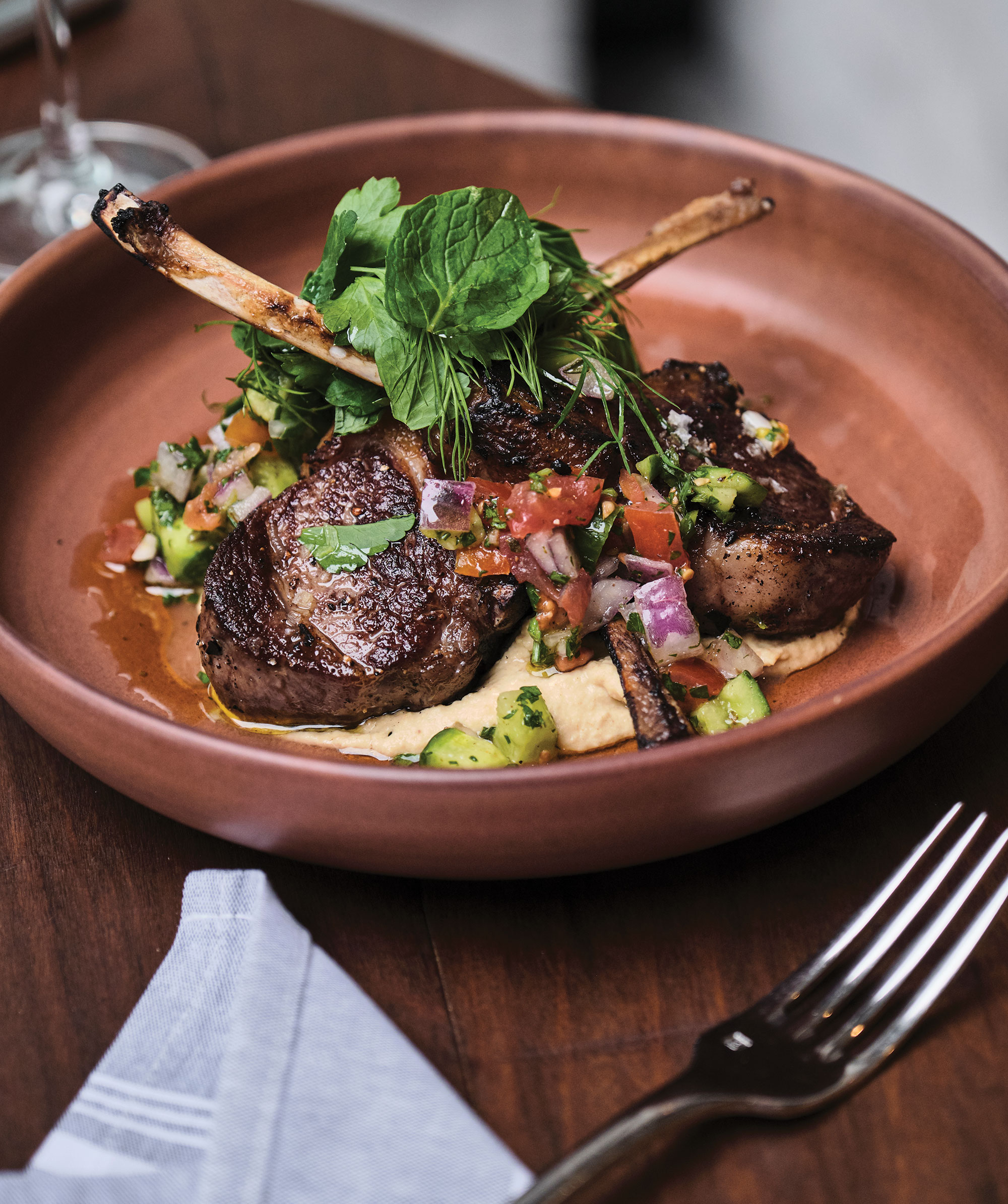 Wood-grilled lamb chops; Photography by Kyle Ledeboer