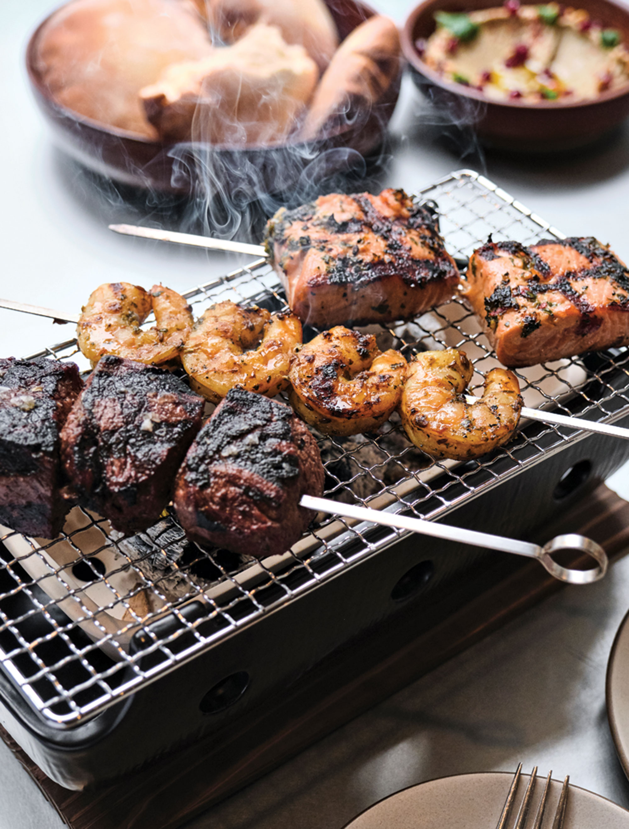 wood-grilled kebabs; Photography by Kyle Ledeboer