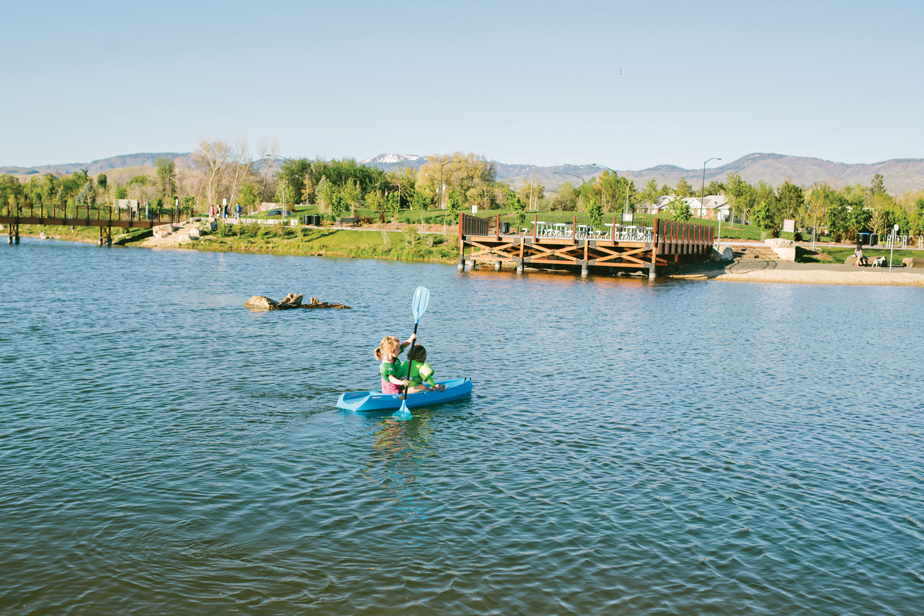Kayakers at Esther Simplot Park; Photo by Chad Chase