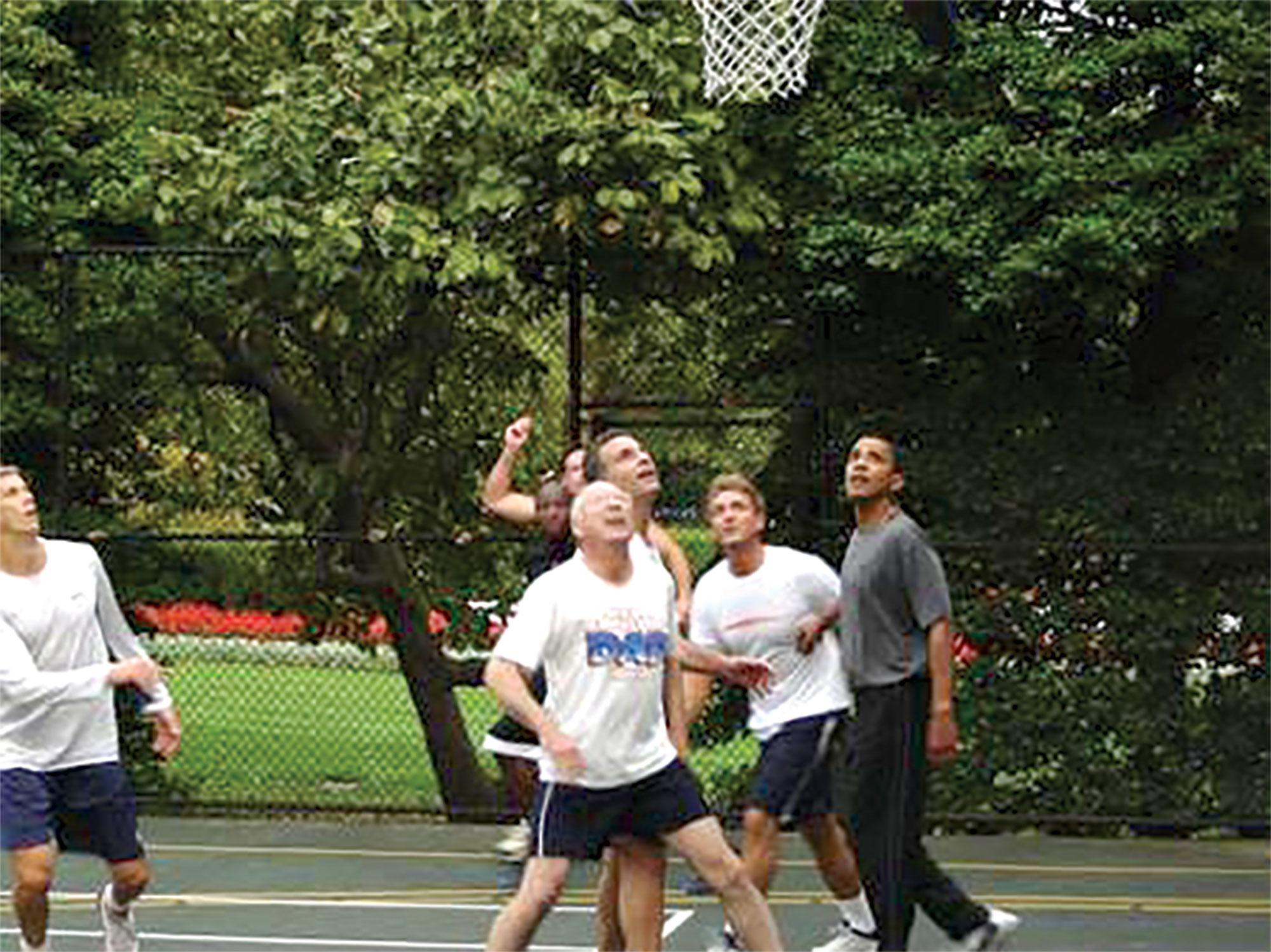 eyeing a rebound during his lone pickup game with President Barack Obama, 2009; Photo courtesy Commons.Wikimedia.org