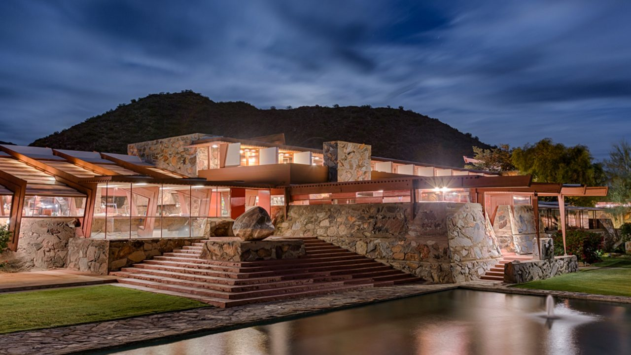 https://www.phoenixmag.com/wp-content/uploads/2020/02/Taliesin-West_Front-evening-1_Photo-credit-Andrew-Pielage_copyright-Frank-Lloyd-Wright-Foundation-1280x720.jpg