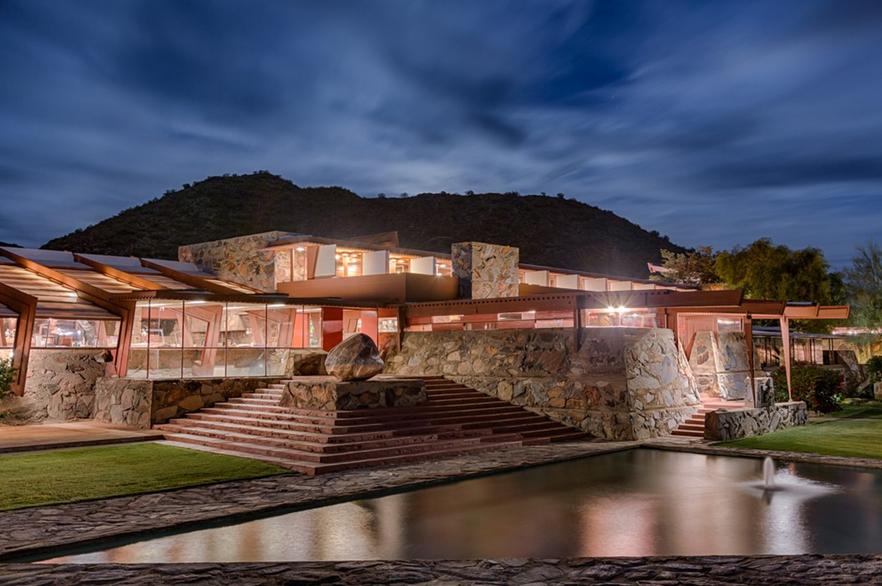 https://www.phoenixmag.com/wp-content/uploads/2020/02/Taliesin-West_Front-evening-1_Photo-credit-Andrew-Pielage_copyright-Frank-Lloyd-Wright-Foundation-1280x851.jpg