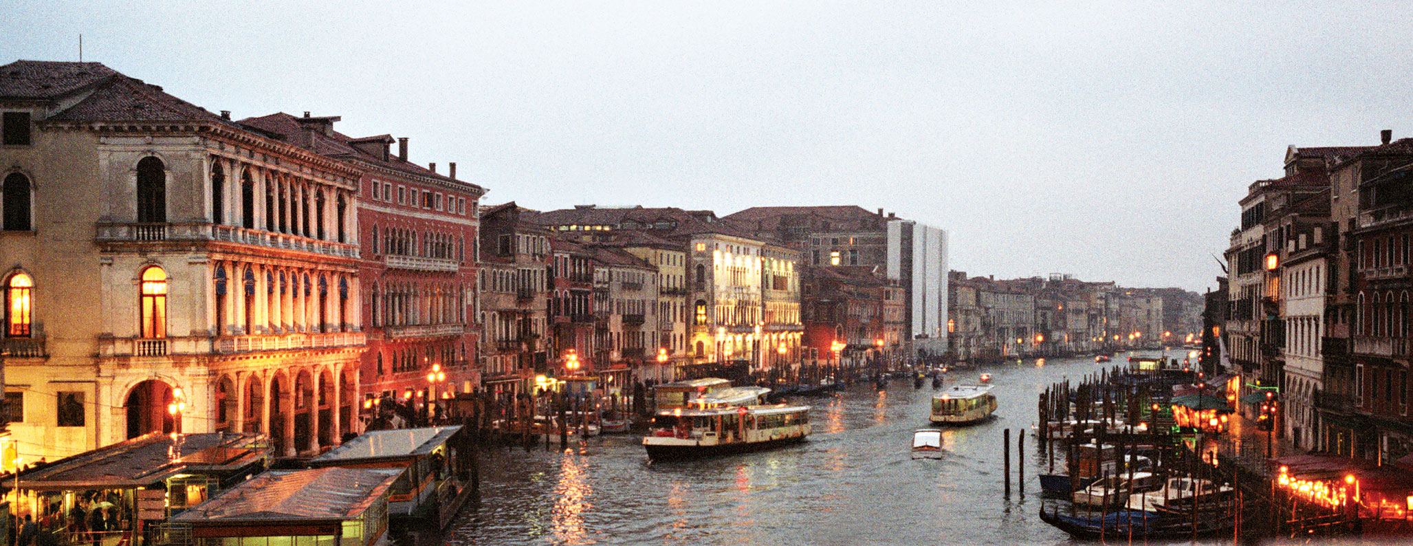 Dr. Larry Sobel shot this image of the Rialto Bridge in Venice during a trip to Italy for his 50th birthday. He used a Hasselblad Xpan 35mm panorama camera with several time exposures
