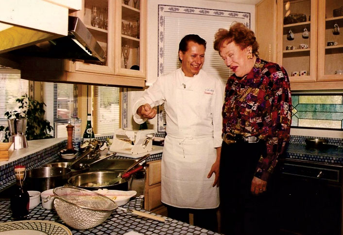 Photos courtesy Christopher Gross; Chef Gross with culinary legend Julia Child in his kitchen, circa 1996