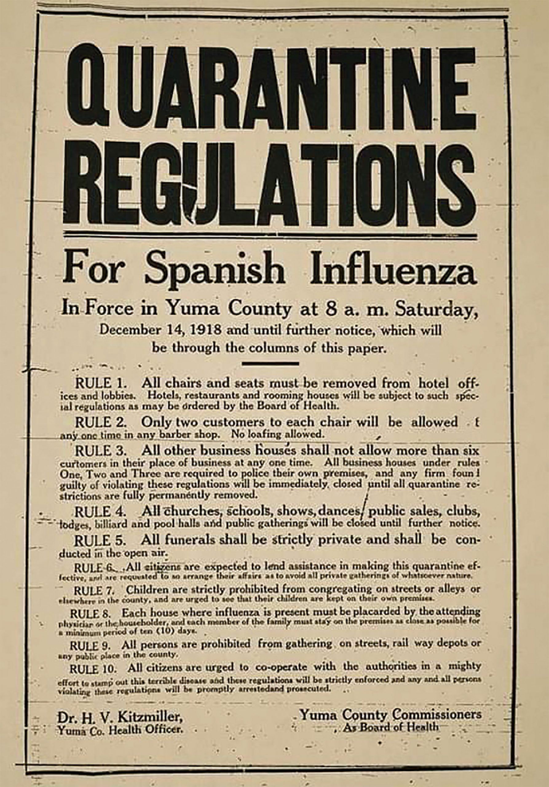 A public flier spells out Yuma Quarantine regulations; Photo courtesy National Archives Catalog