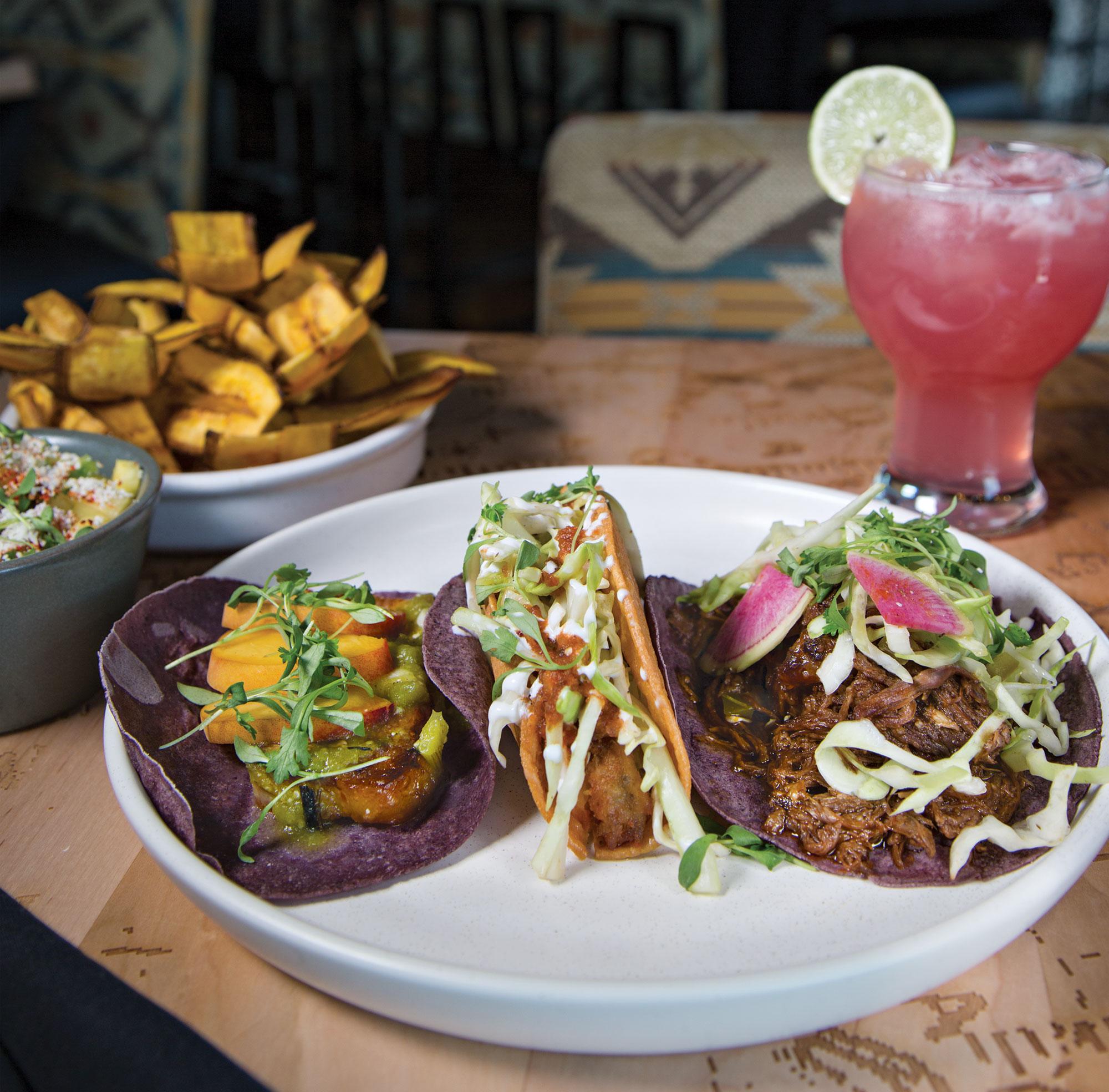 Short rib, potato and carnitas tacos, guacamole with plantains and prickly pear paloma; Photography by Angelina Aragon