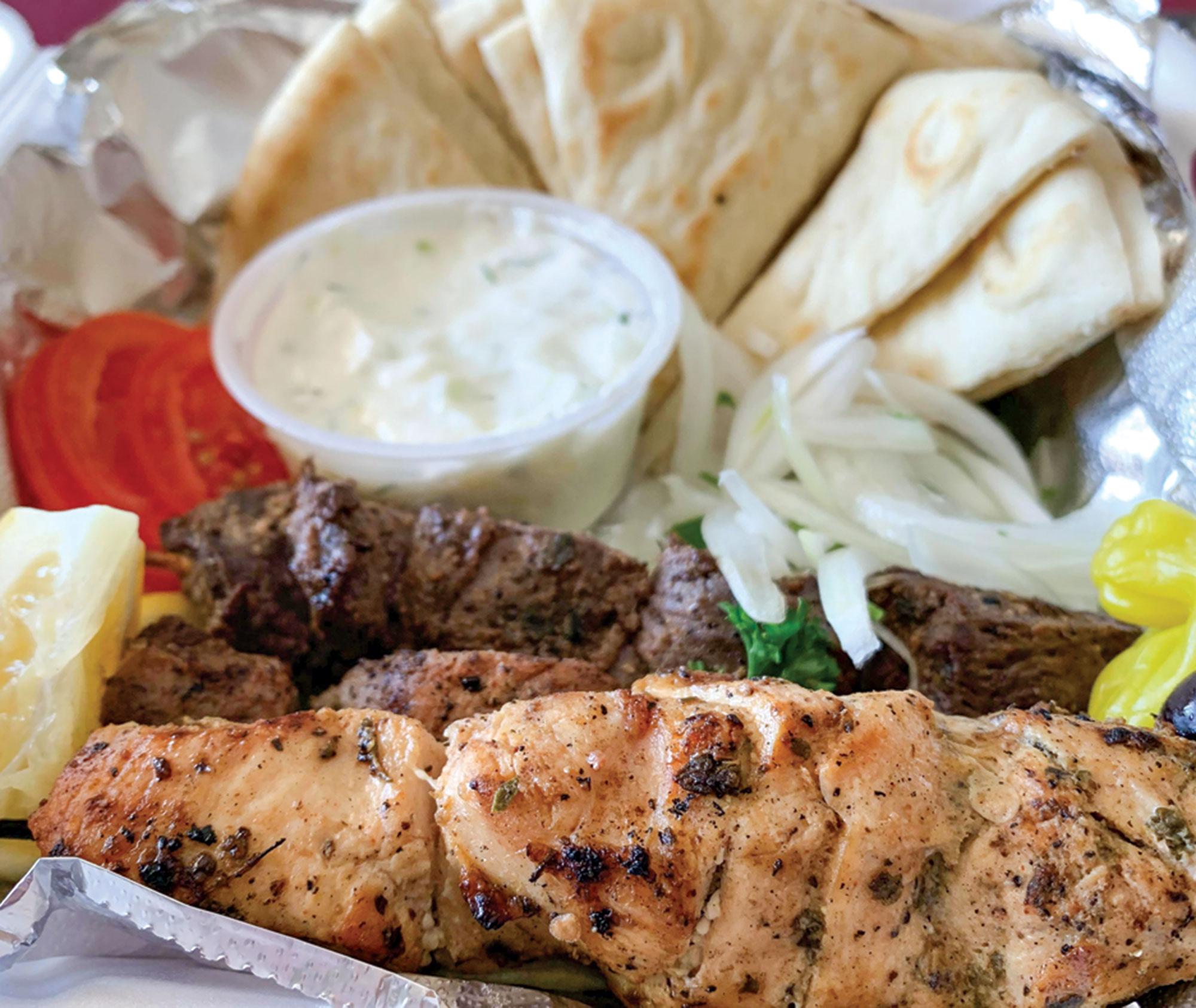 souvlaki plate, Xanthi Greek Food; Photography by Angelina Aragon